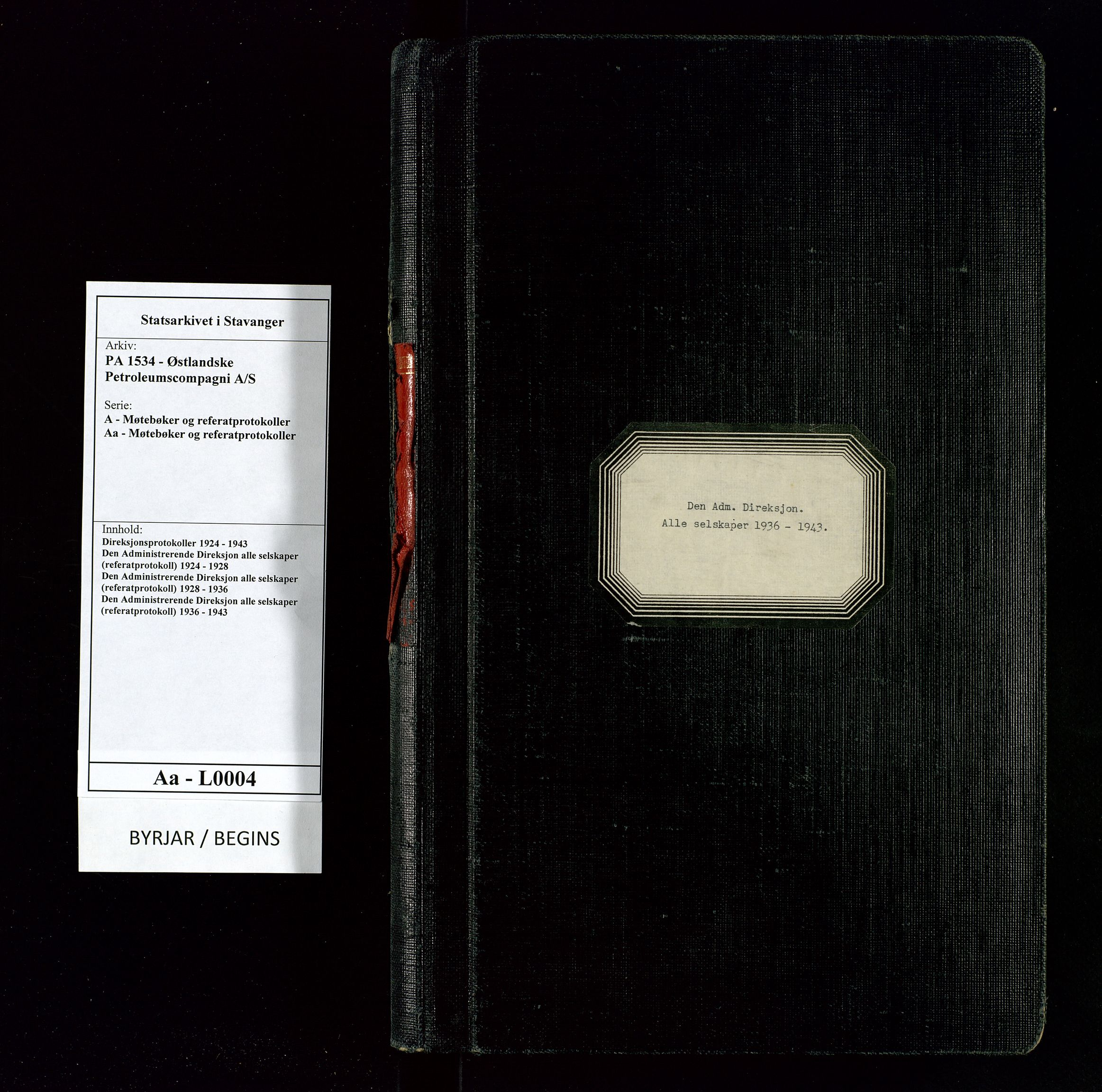 SAST, PA 1534 - Østlandske Petroleumscompagni A/S, A/Aa/L0004: Direksjonsprotokoller, 1936-1943, s. upaginert