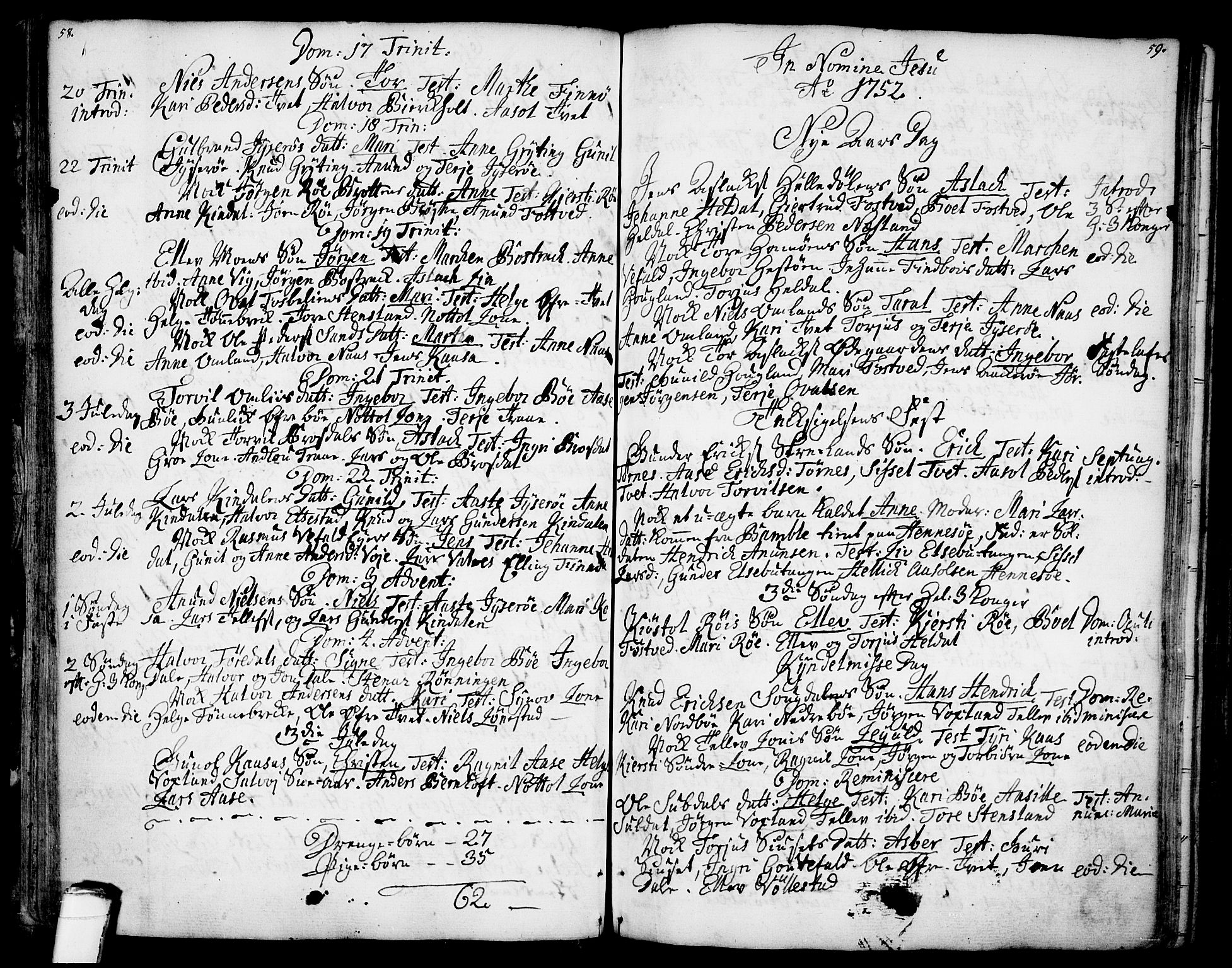 SAKO, Drangedal kirkebøker, F/Fa/L0001: Ministerialbok nr. 1, 1697-1767, s. 58-59