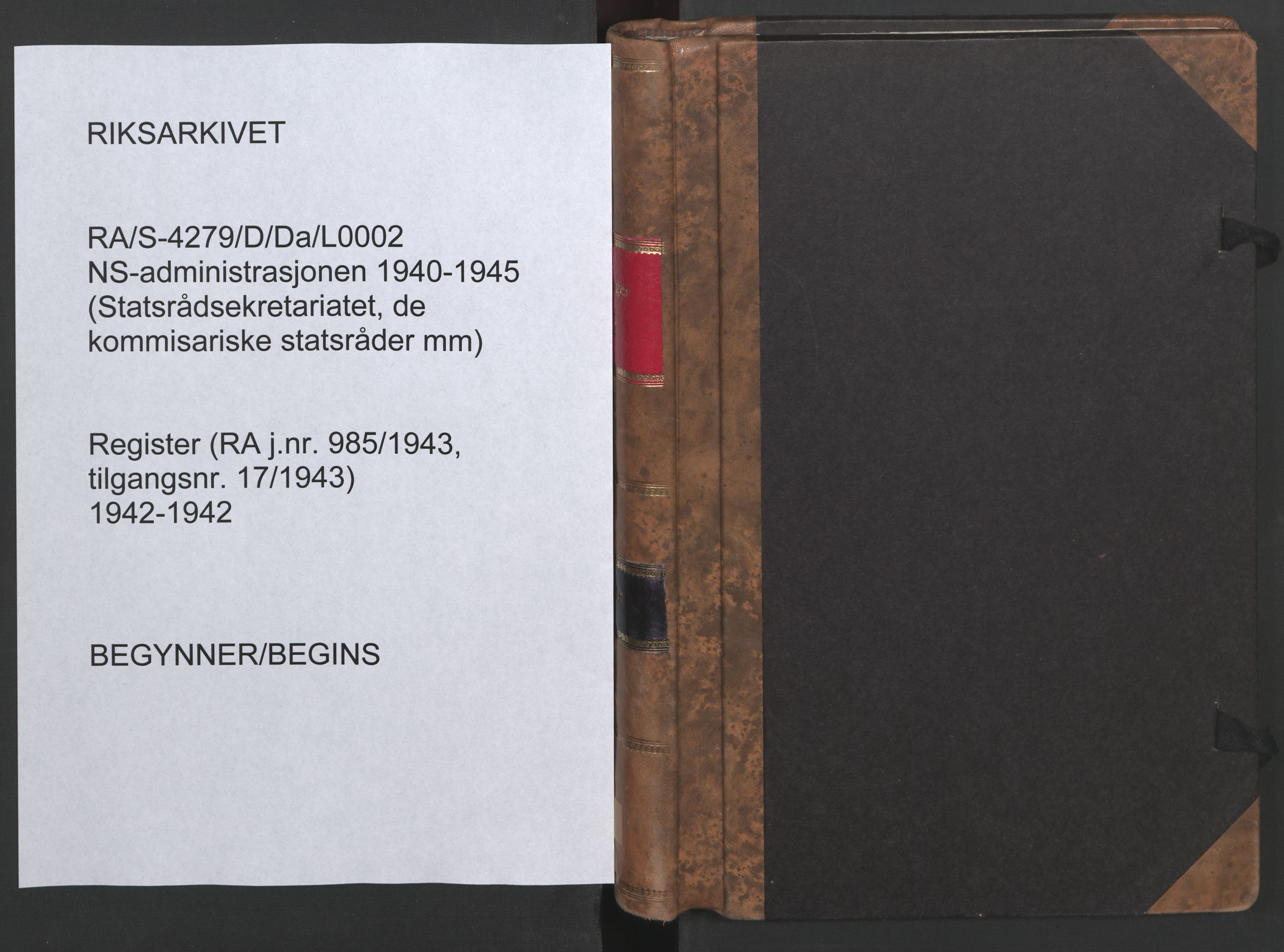 RA, NS-administrasjonen 1940-1945 (Statsrådsekretariatet, de kommisariske statsråder mm), D/Da/L0002: Register (RA j.nr. 985/1943, tilgangsnr. 17/1943), 1942, s. upaginert