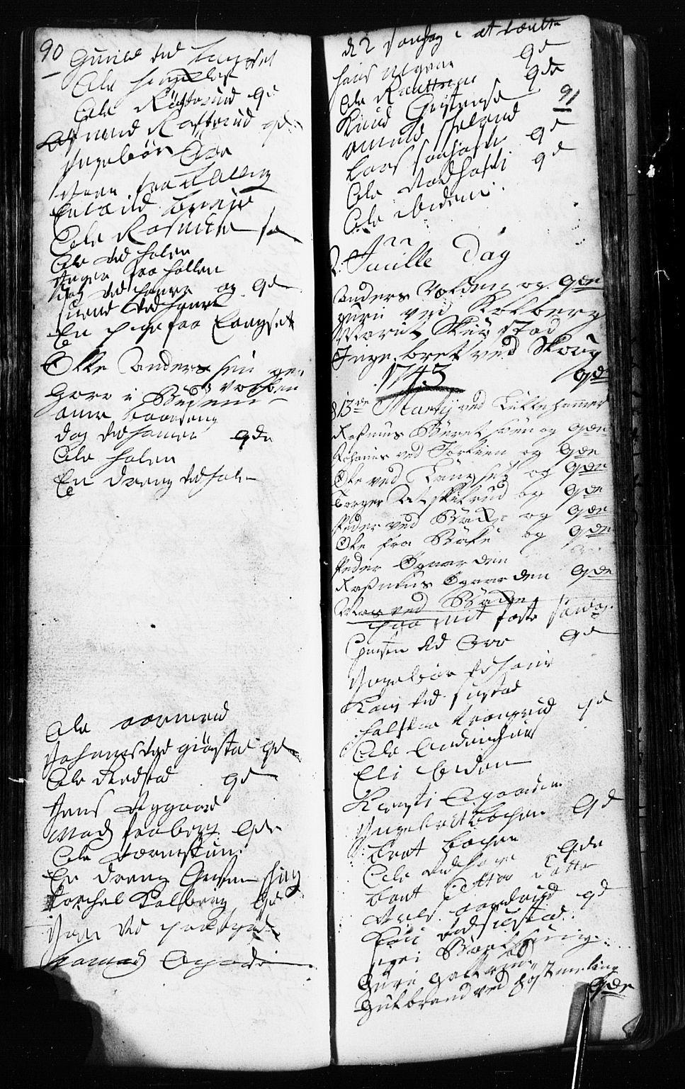 SAH, Fåberg prestekontor, Klokkerbok nr. 2, 1741-1756, s. 90-91