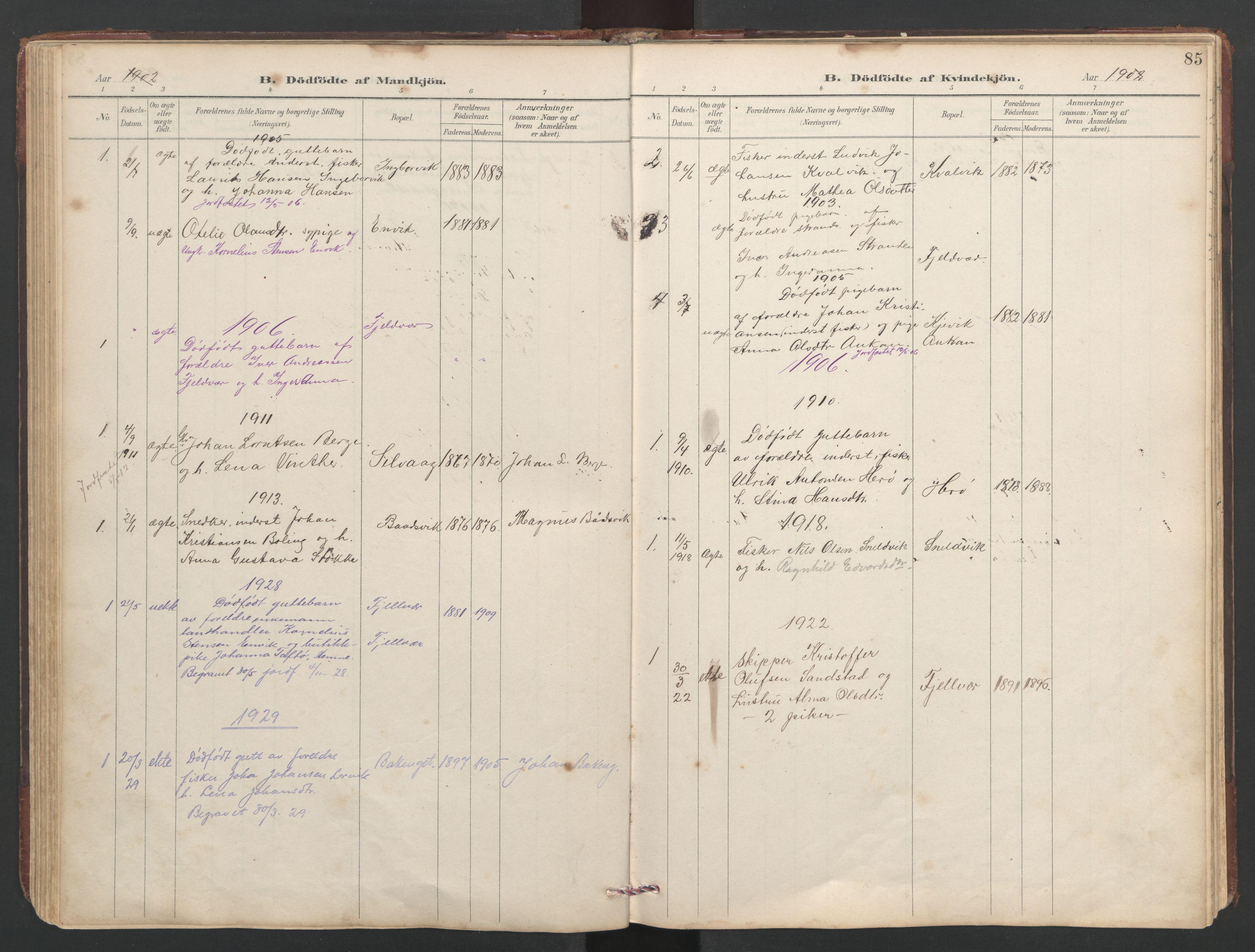 SAT, Ministerialprotokoller, klokkerbøker og fødselsregistre - Sør-Trøndelag, 638/L0571: Klokkerbok nr. 638C03, 1901-1930, s. 85