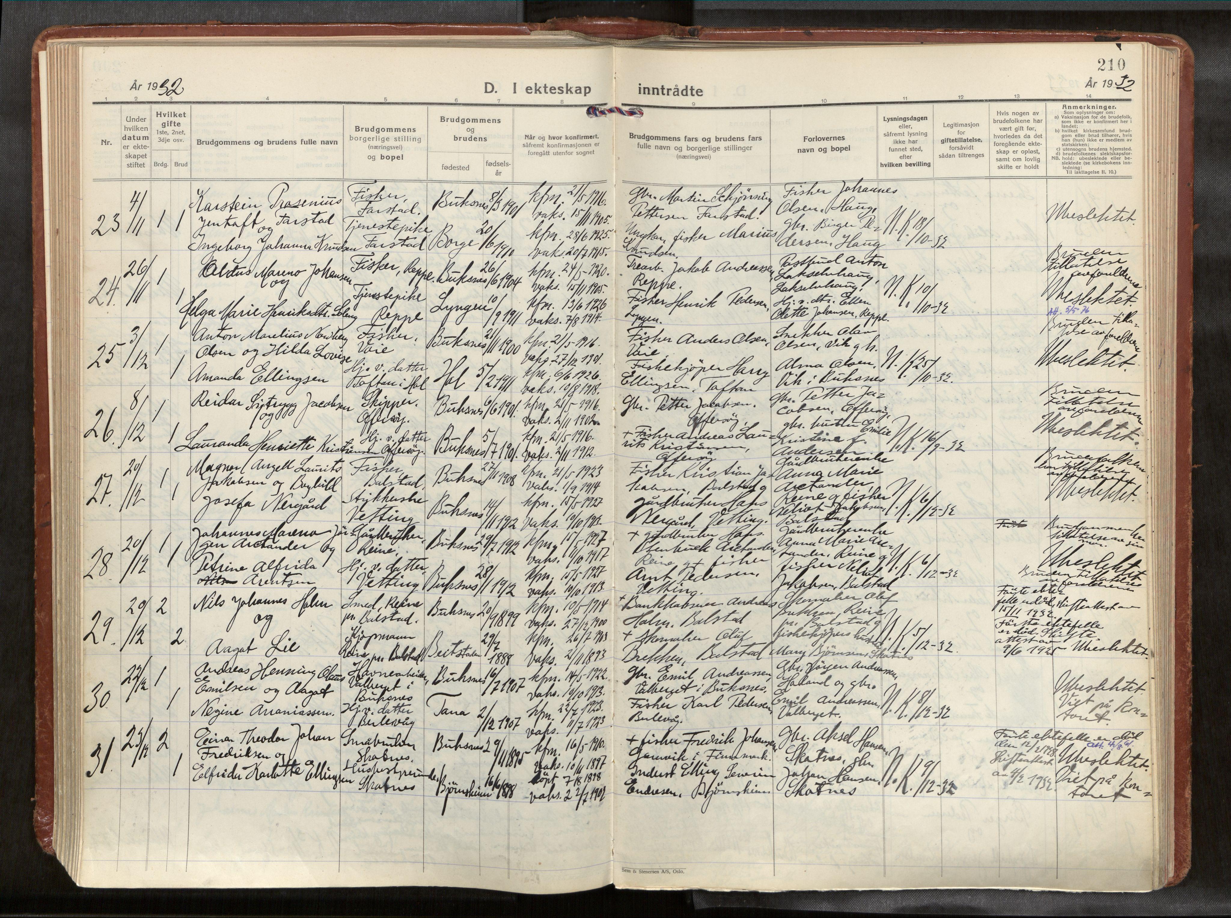 SAT, Ministerialprotokoller, klokkerbøker og fødselsregistre - Nordland, 881/L1161: Ministerialbok nr. 881A14, 1932-1955, s. 210