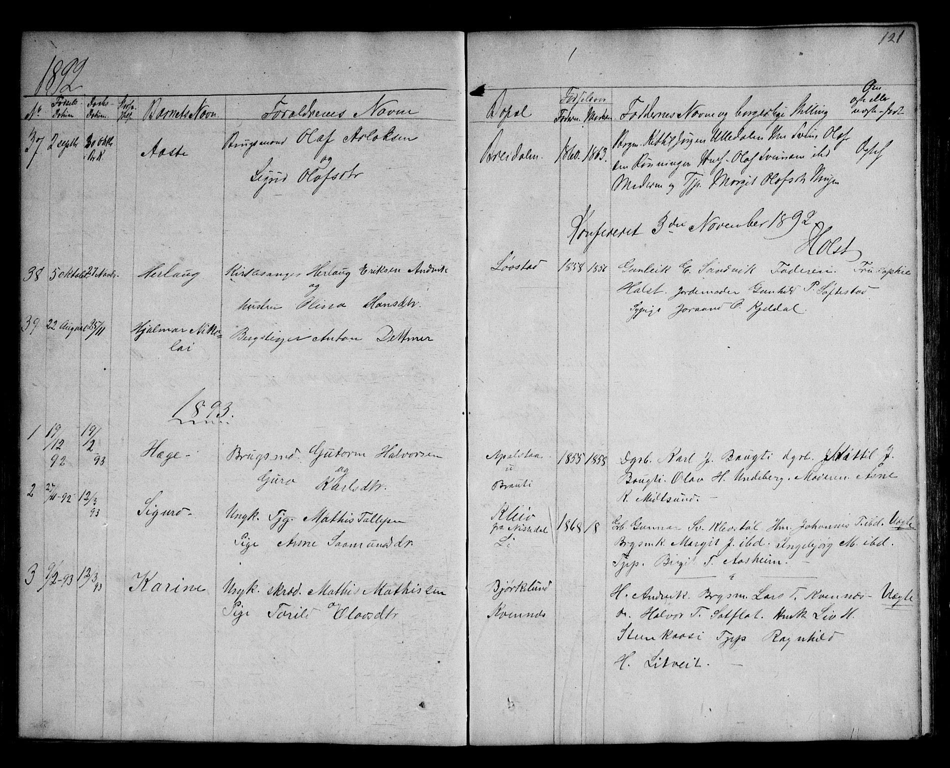 SAKO, Kviteseid kirkebøker, G/Ga/L0001: Klokkerbok nr. I 1, 1850-1893, s. 121
