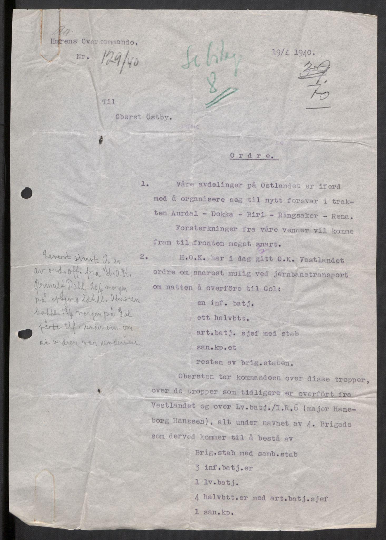 RA, Forsvaret, Forsvarets krigshistoriske avdeling, Y/Yb/L0104: II-C-11-430  -  4. Divisjon., 1940, s. 185