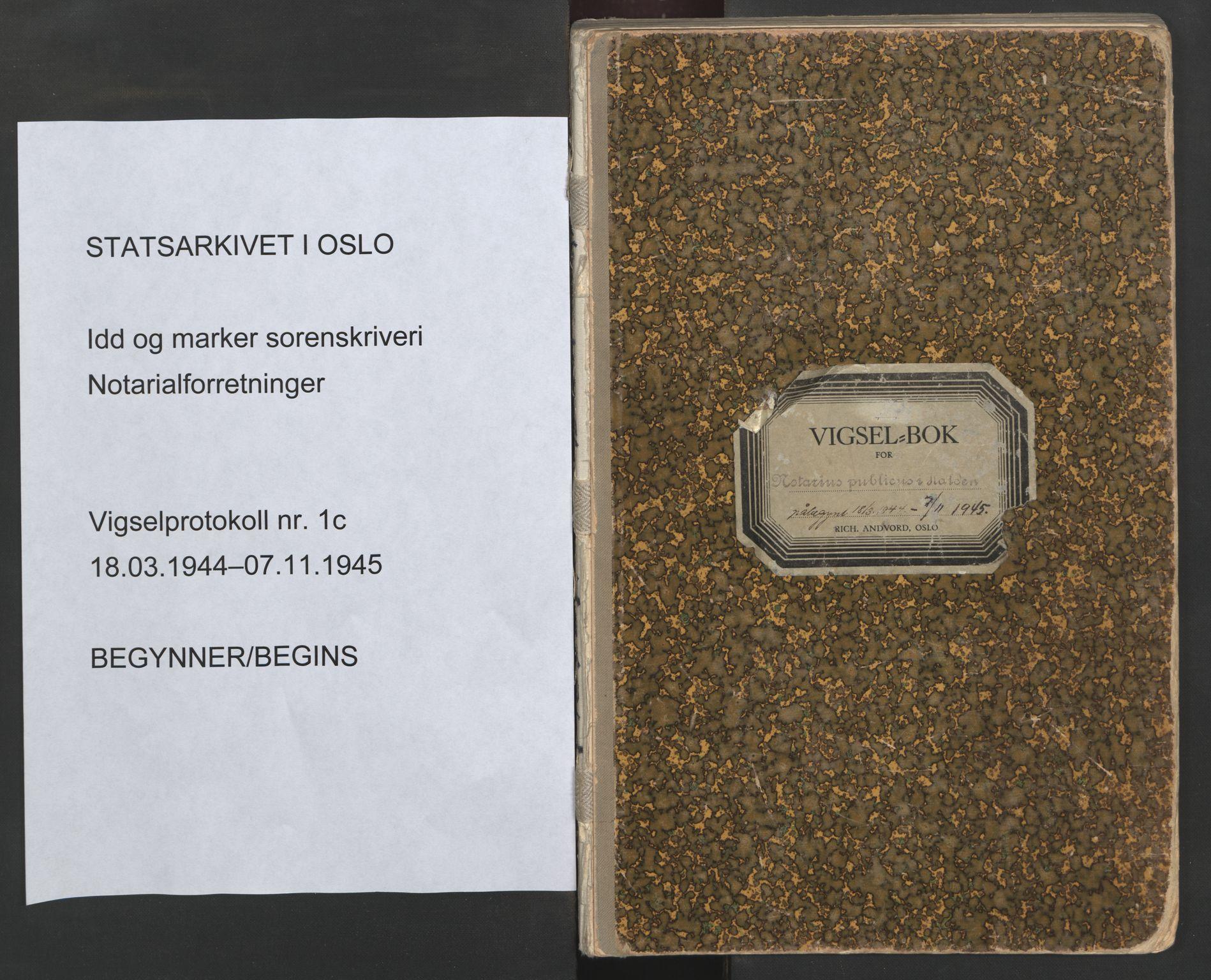 SAO, Idd og Marker sorenskriveri, L/Lc/L0001: Vigselsbøker, 1944-1945, s. upaginert