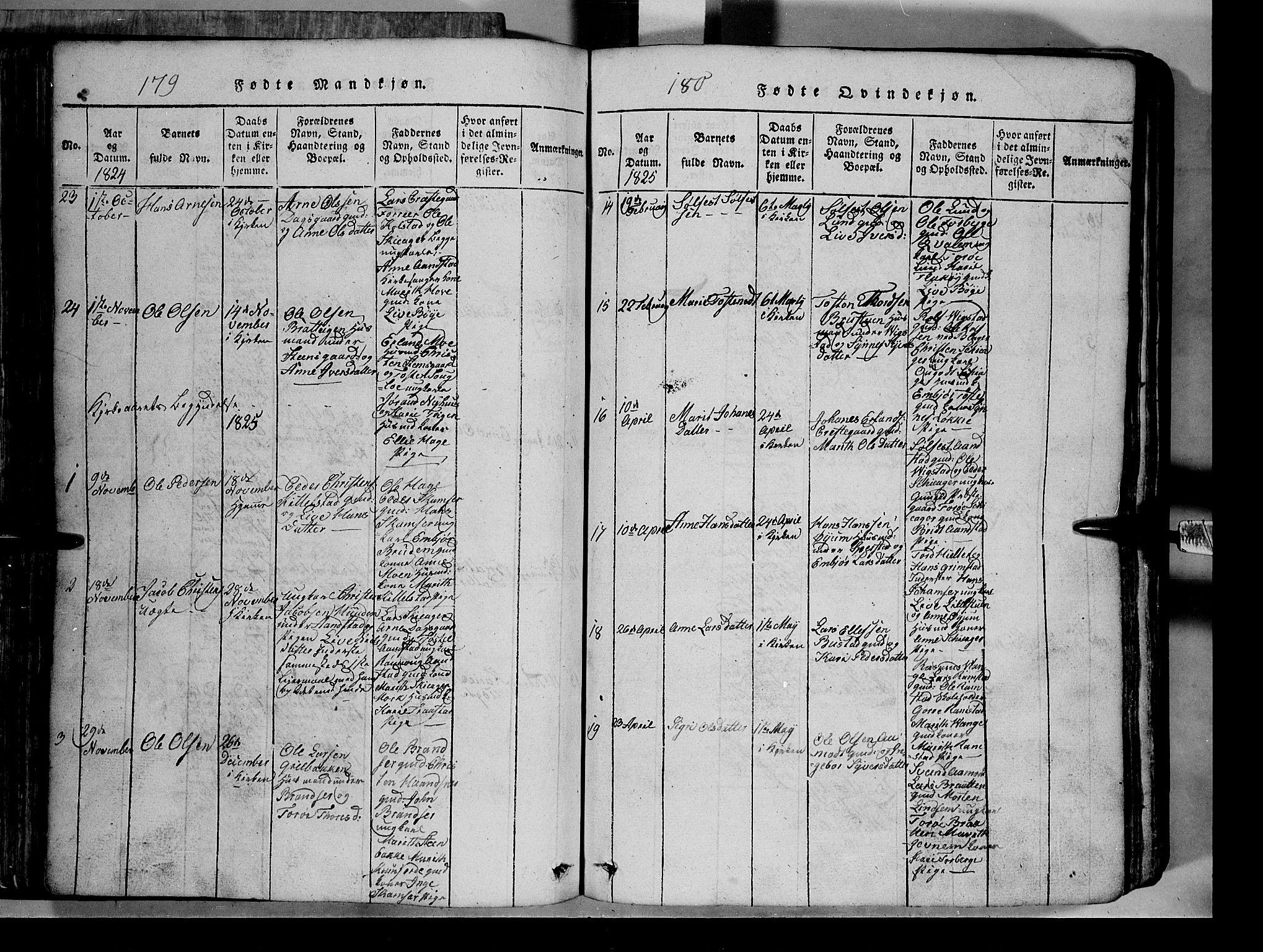 SAH, Lom prestekontor, L/L0003: Klokkerbok nr. 3, 1815-1844, s. 179-180