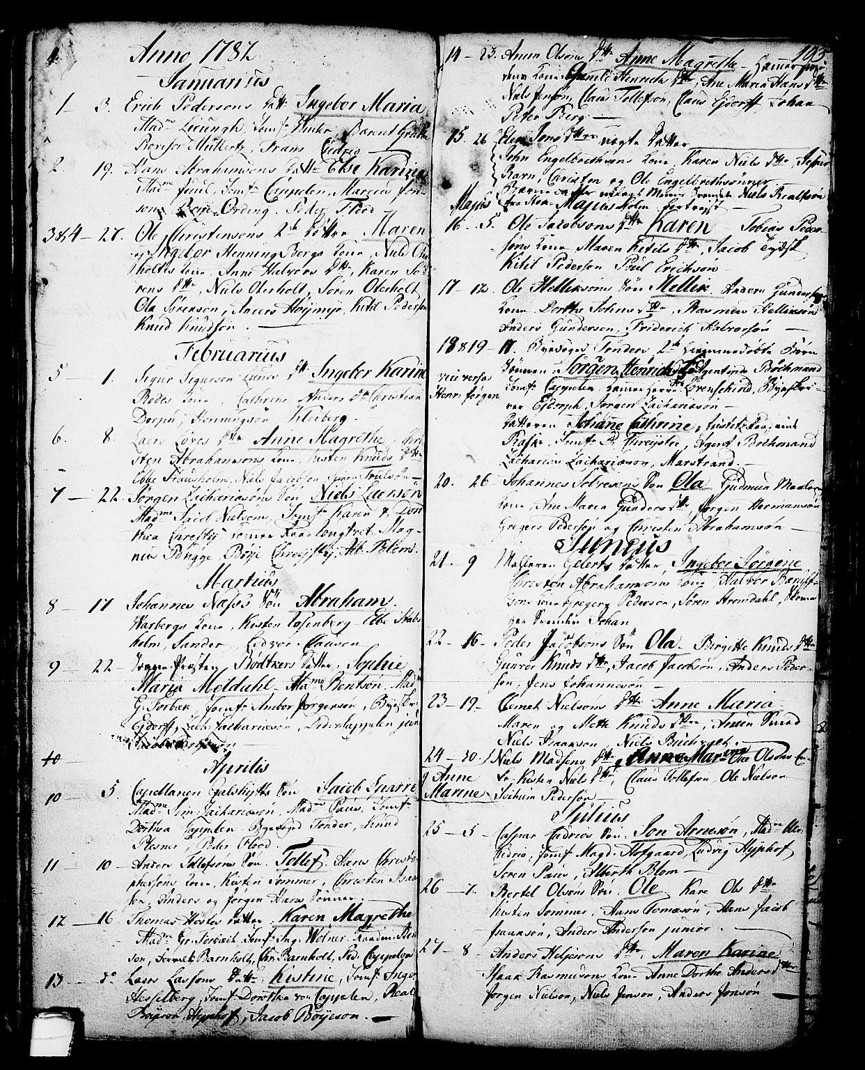 SAKO, Skien kirkebøker, G/Ga/L0001: Klokkerbok nr. 1, 1756-1791, s. 103