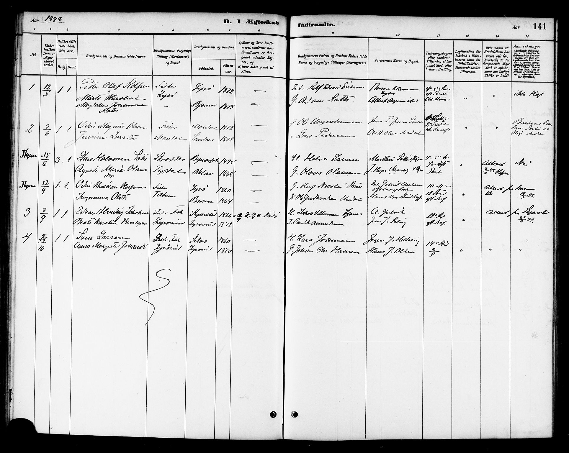 SAT, Ministerialprotokoller, klokkerbøker og fødselsregistre - Sør-Trøndelag, 654/L0663: Ministerialbok nr. 654A01, 1880-1894, s. 141