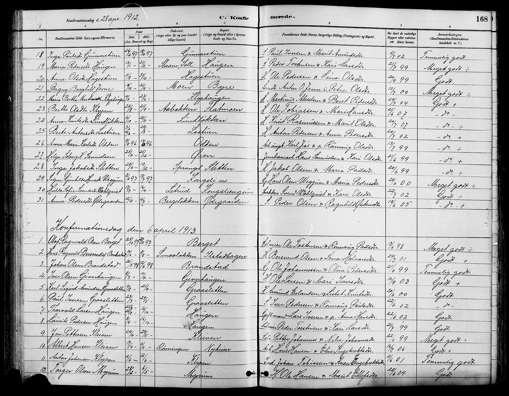 SAH, Nord-Fron prestekontor, Klokkerbok nr. 4, 1884-1914, s. 168
