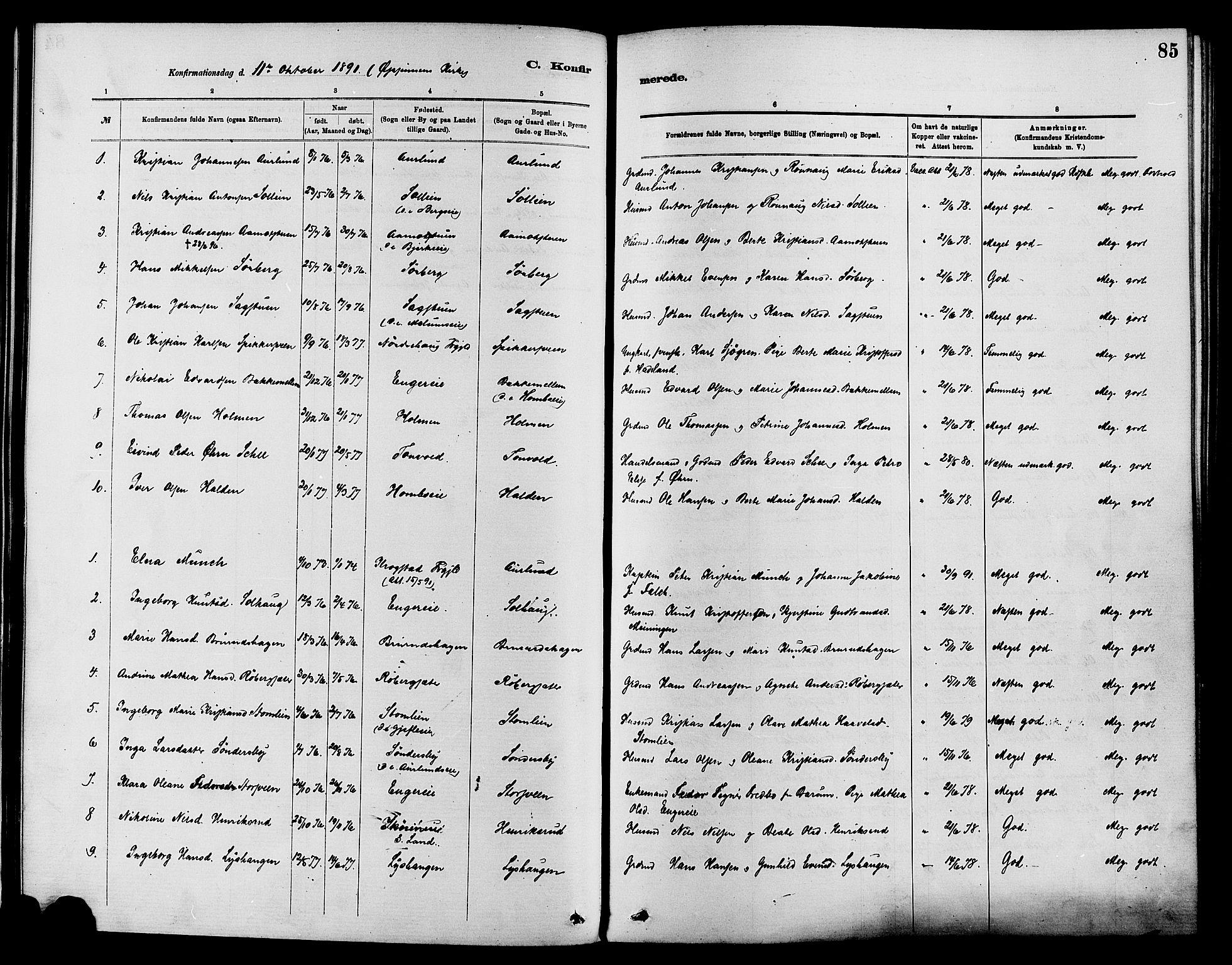 SAH, Nordre Land prestekontor, Ministerialbok nr. 3, 1882-1896, s. 85