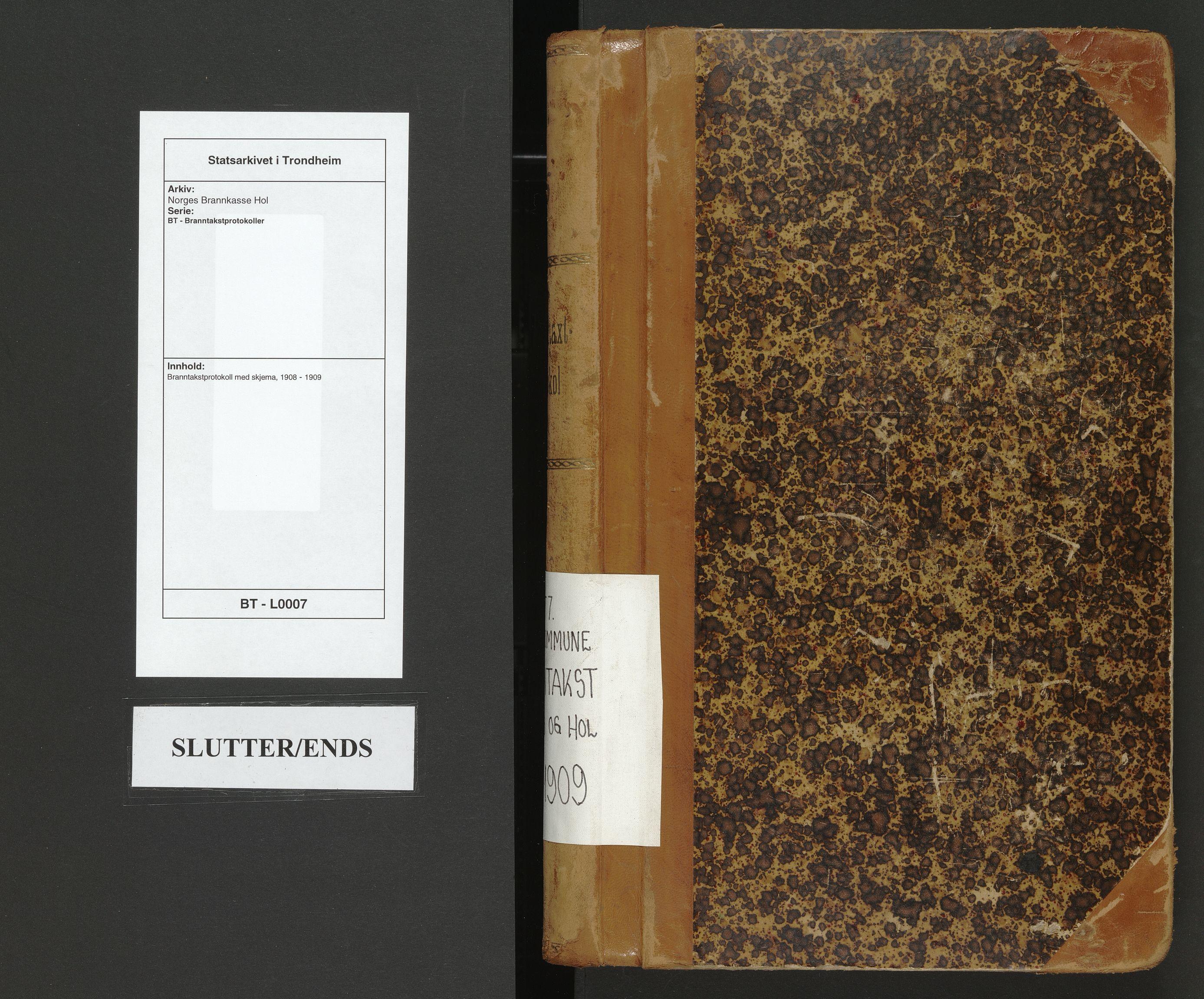 SAT, Norges Brannkasse Hol, BT/L0007: Branntakstprotokoll med skjema, 1908-1909
