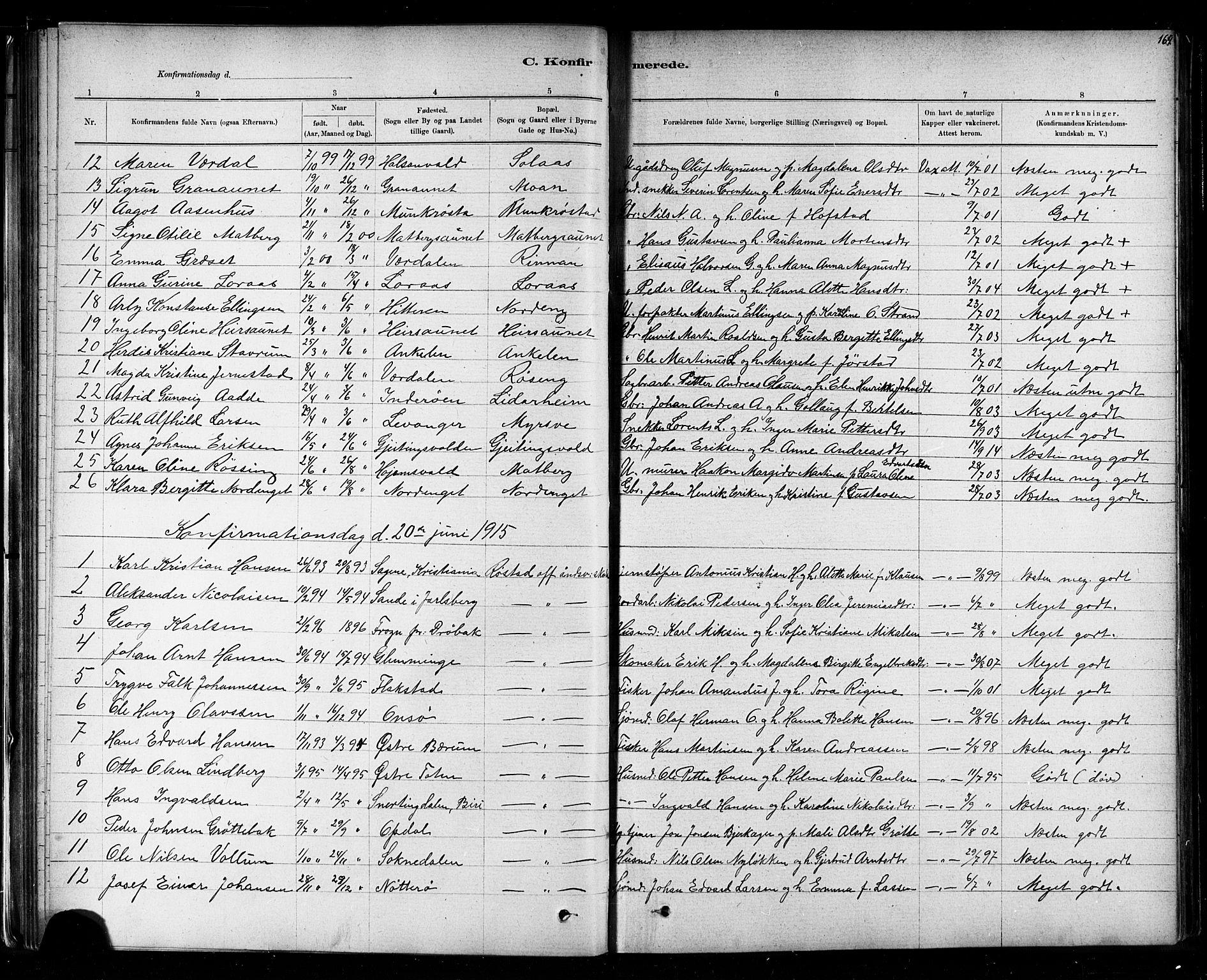 SAT, Ministerialprotokoller, klokkerbøker og fødselsregistre - Nord-Trøndelag, 721/L0208: Klokkerbok nr. 721C01, 1880-1917, s. 164