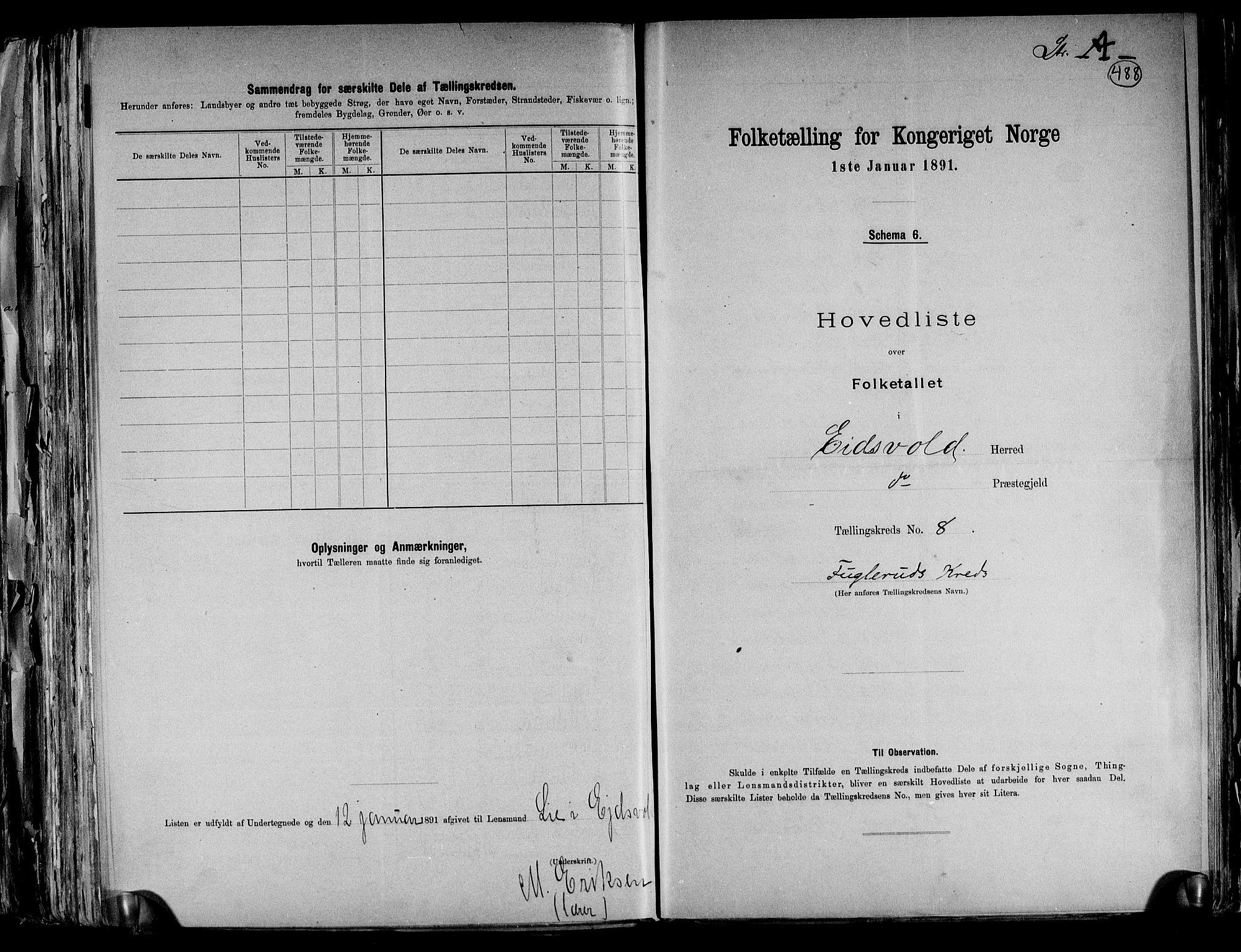 RA, Folketelling 1891 for 0237 Eidsvoll herred, 1891, s. 25
