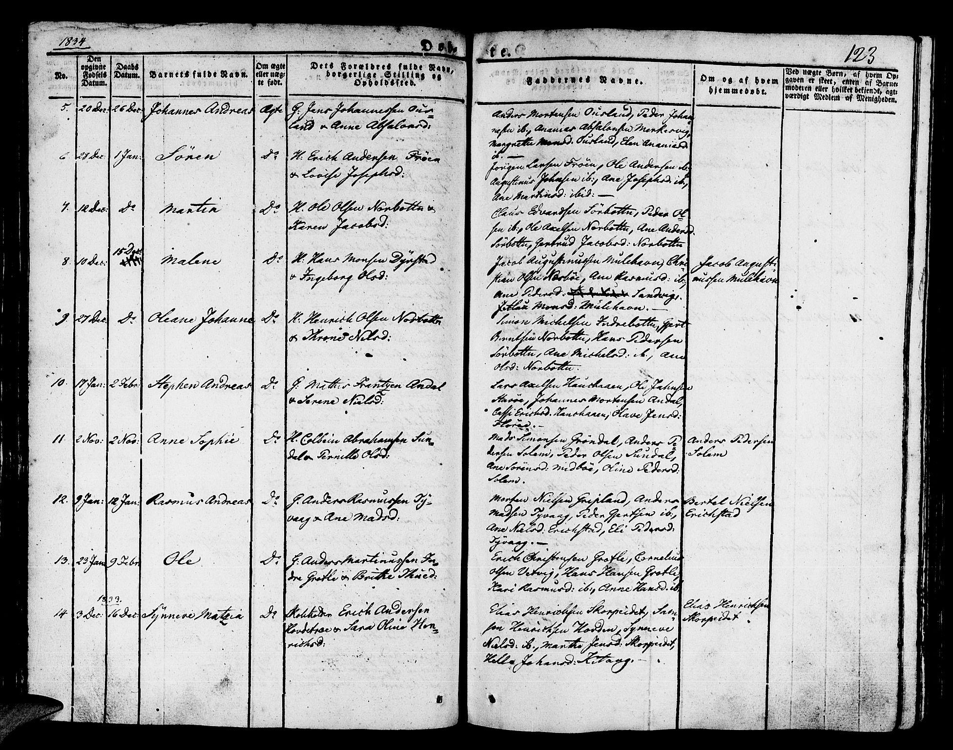 SAB, Kinn Sokneprestembete, Ministerialbok nr. A 4I, 1822-1840, s. 123