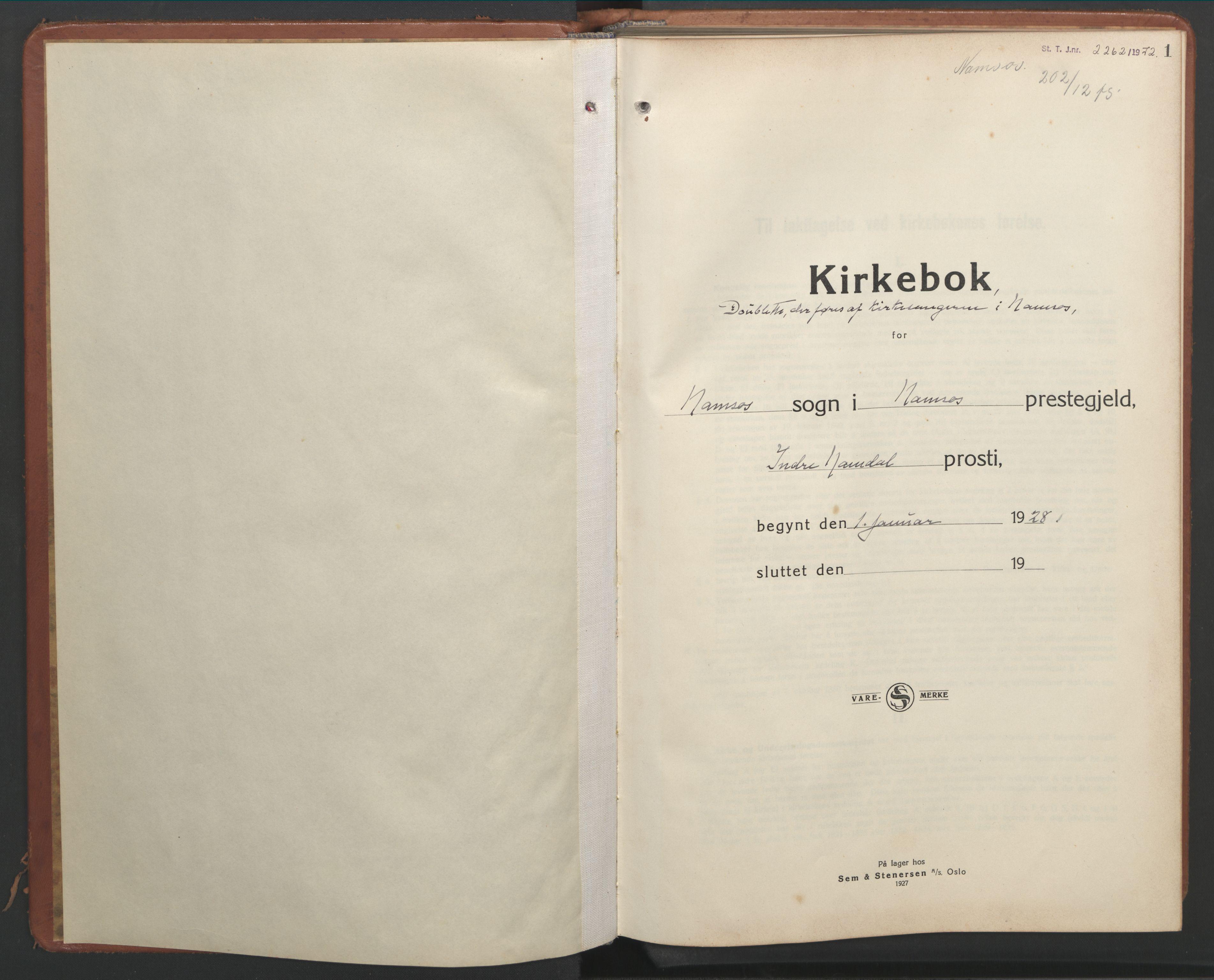 SAT, Ministerialprotokoller, klokkerbøker og fødselsregistre - Nord-Trøndelag, 768/L0583: Klokkerbok nr. 768C01, 1928-1953, s. 1