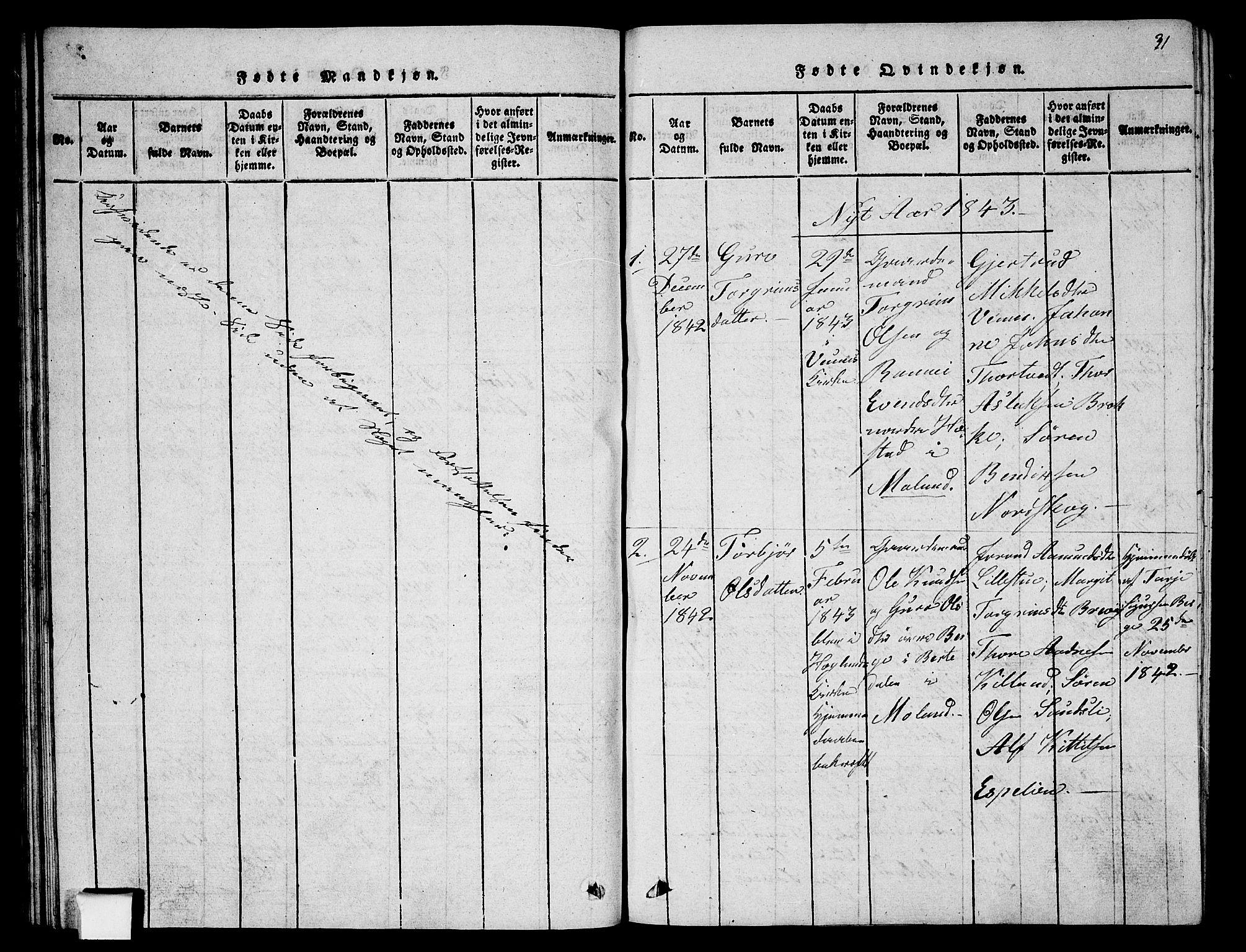 SAKO, Fyresdal kirkebøker, G/Ga/L0002: Klokkerbok nr. I 2, 1815-1857, s. 31
