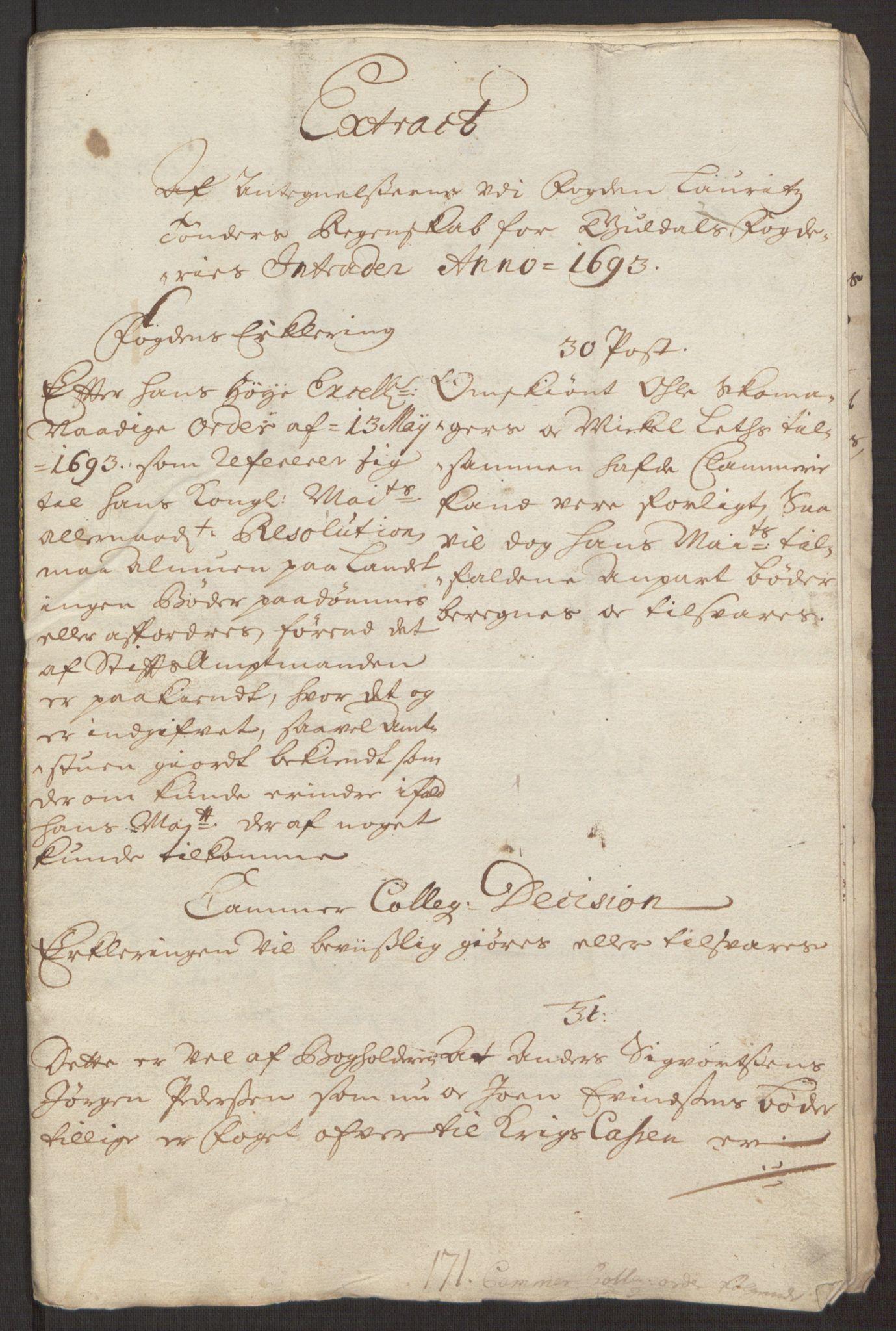 RA, Rentekammeret inntil 1814, Reviderte regnskaper, Fogderegnskap, R59/L3943: Fogderegnskap Gauldal, 1693, s. 177