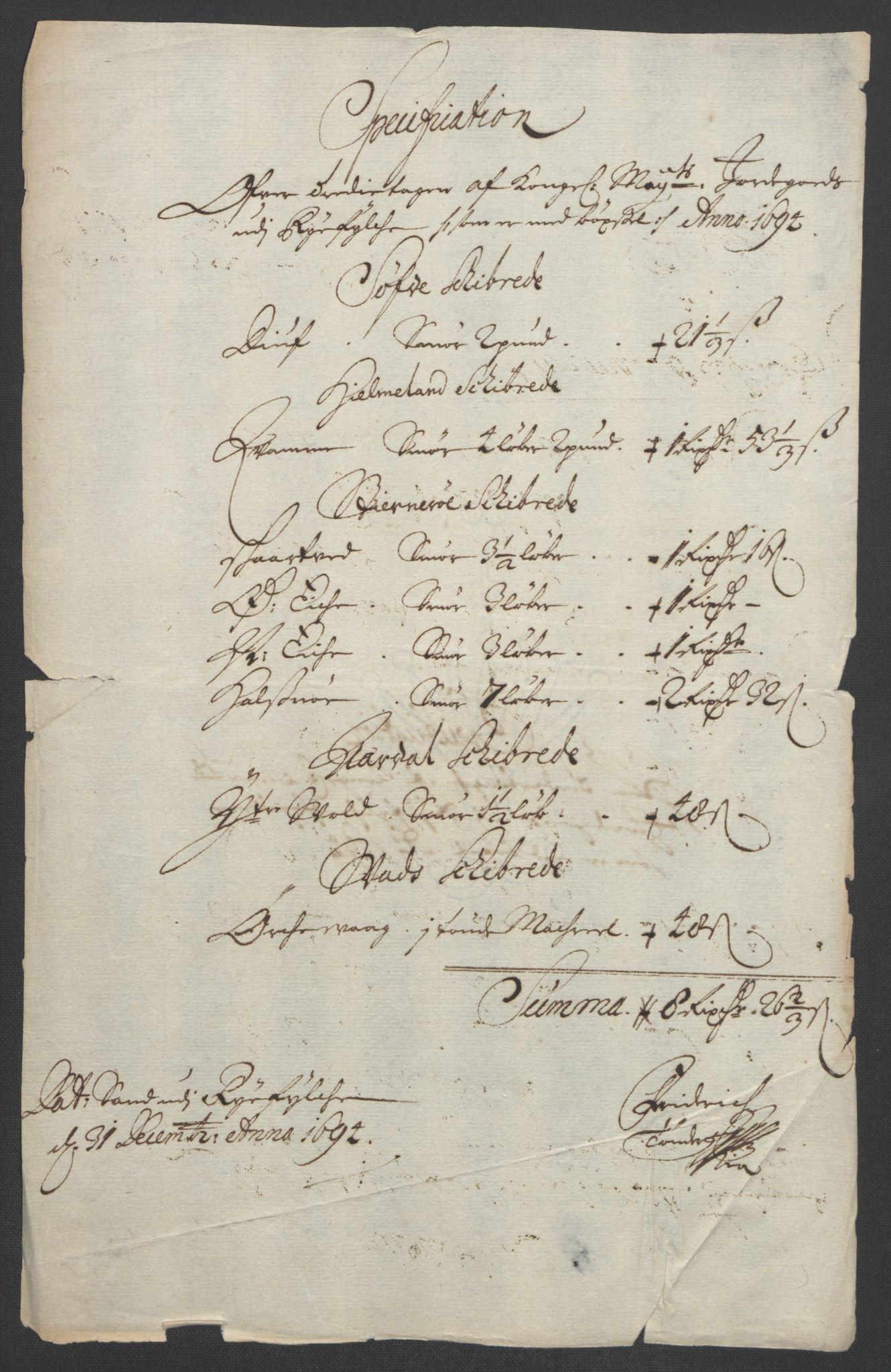 RA, Rentekammeret inntil 1814, Reviderte regnskaper, Fogderegnskap, R47/L2857: Fogderegnskap Ryfylke, 1694-1696, s. 12