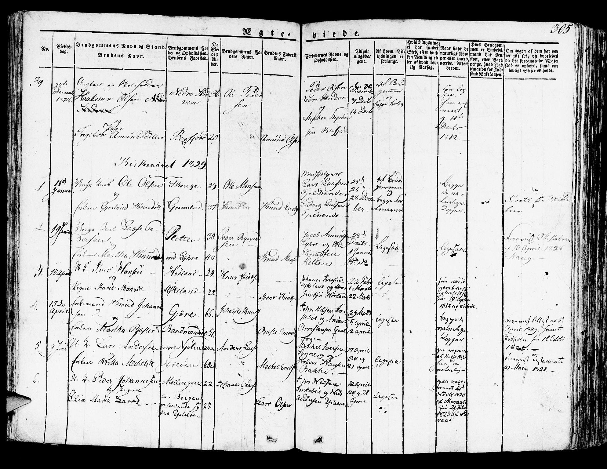 SAB, Lindås Sokneprestembete, H/Haa: Ministerialbok nr. A 8, 1823-1836, s. 305