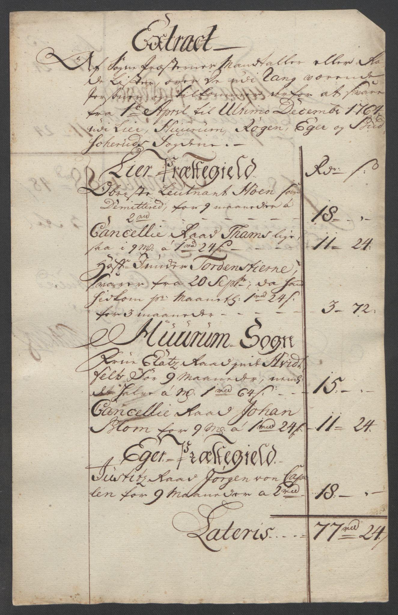 RA, Rentekammeret inntil 1814, Reviderte regnskaper, Fogderegnskap, R31/L1833: Ekstraskatten Hurum, Røyken, Eiker, Lier og Buskerud, 1762-1764, s. 213