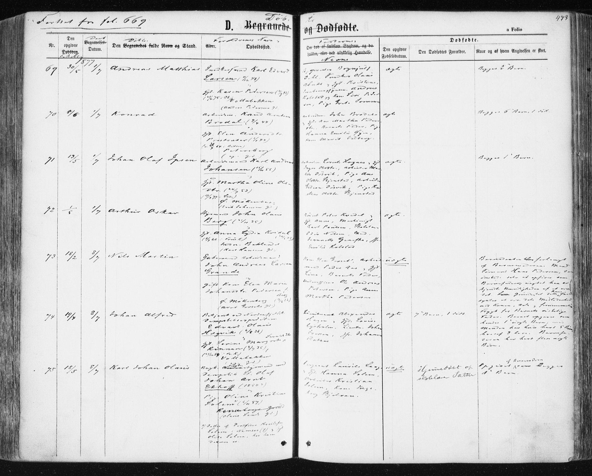 SAT, Ministerialprotokoller, klokkerbøker og fødselsregistre - Sør-Trøndelag, 604/L0186: Ministerialbok nr. 604A07, 1866-1877, s. 473