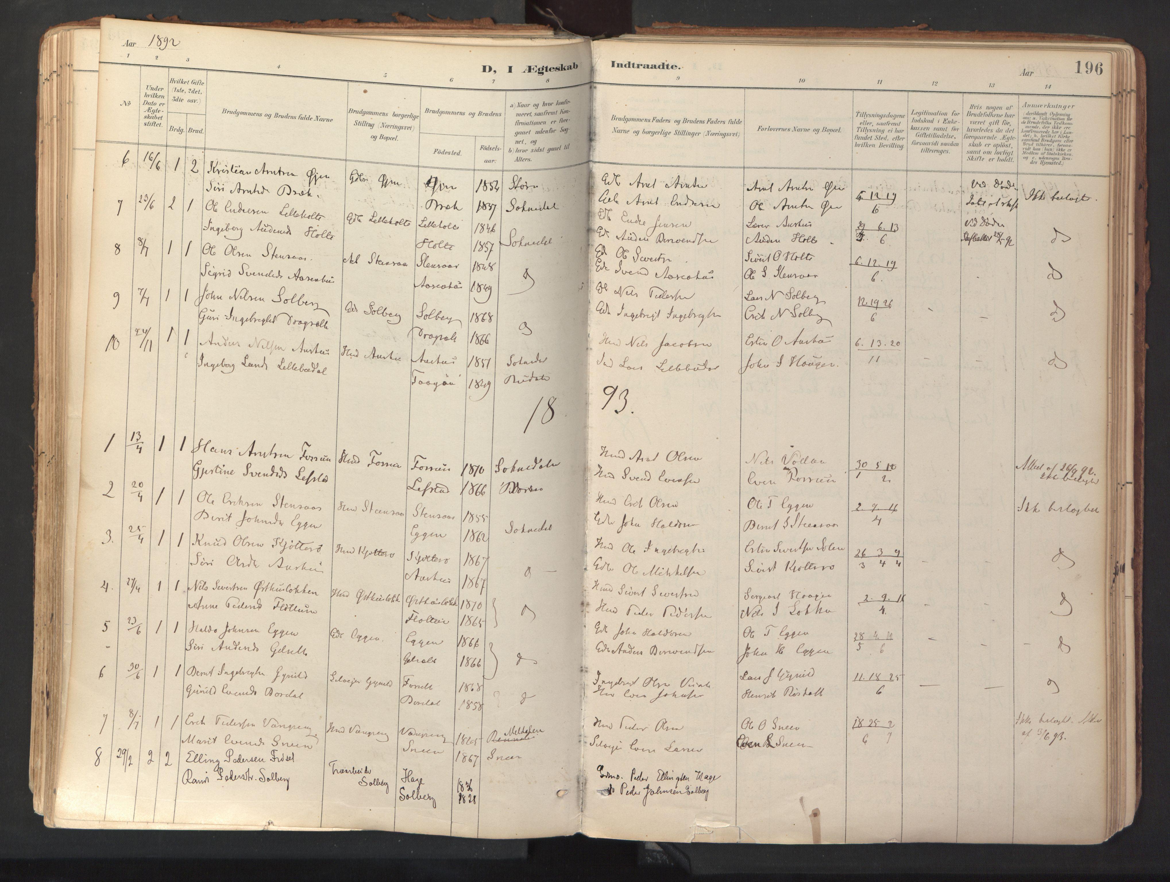 SAT, Ministerialprotokoller, klokkerbøker og fødselsregistre - Sør-Trøndelag, 689/L1041: Ministerialbok nr. 689A06, 1891-1923, s. 196