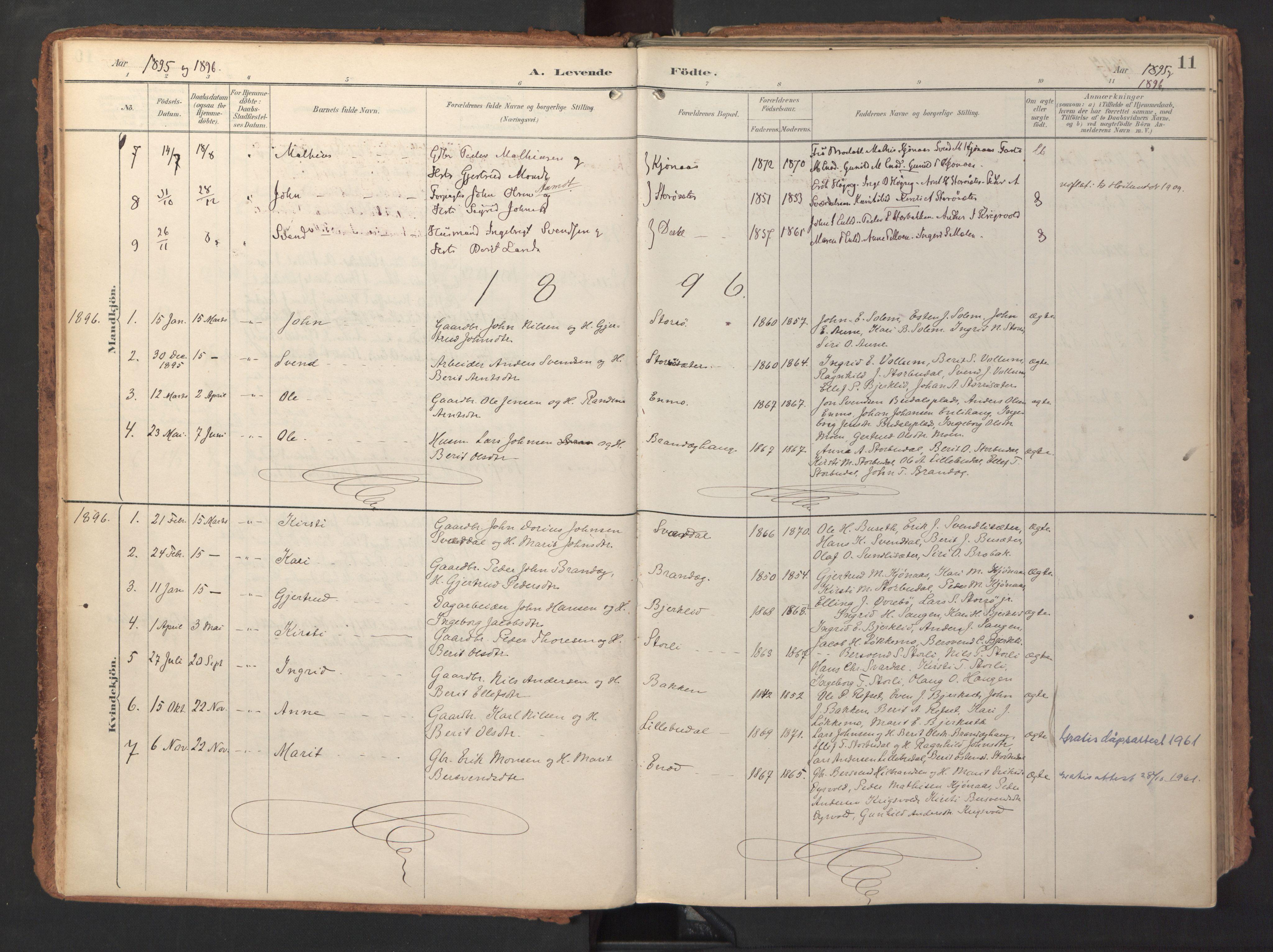 SAT, Ministerialprotokoller, klokkerbøker og fødselsregistre - Sør-Trøndelag, 690/L1050: Ministerialbok nr. 690A01, 1889-1929, s. 11