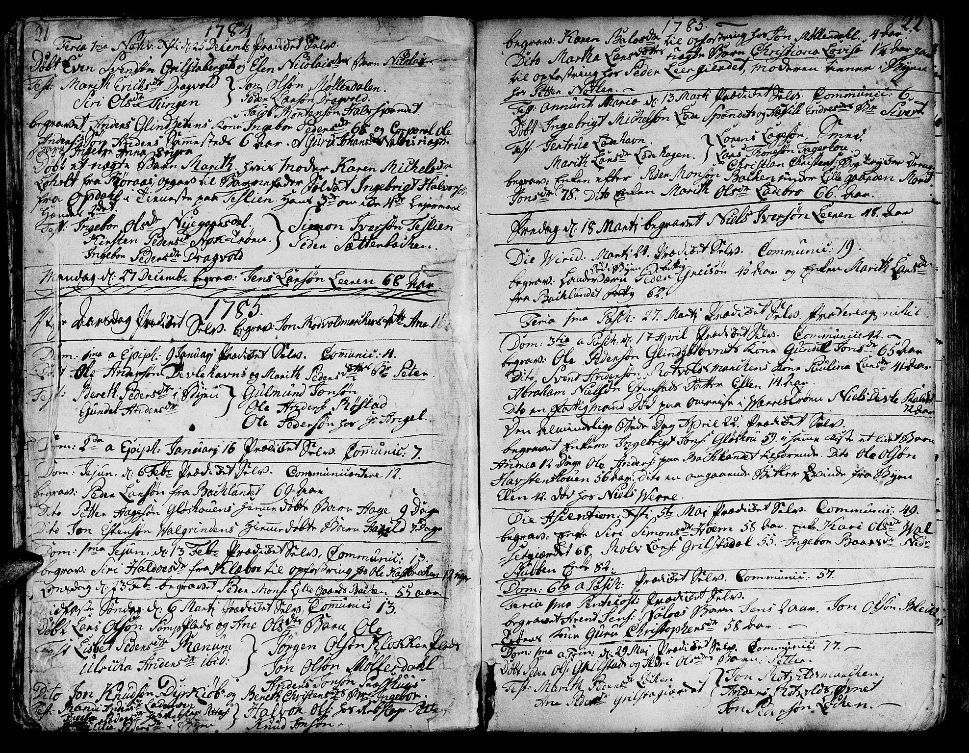 SAT, Ministerialprotokoller, klokkerbøker og fødselsregistre - Sør-Trøndelag, 606/L0280: Ministerialbok nr. 606A02 /1, 1781-1817, s. 21-22
