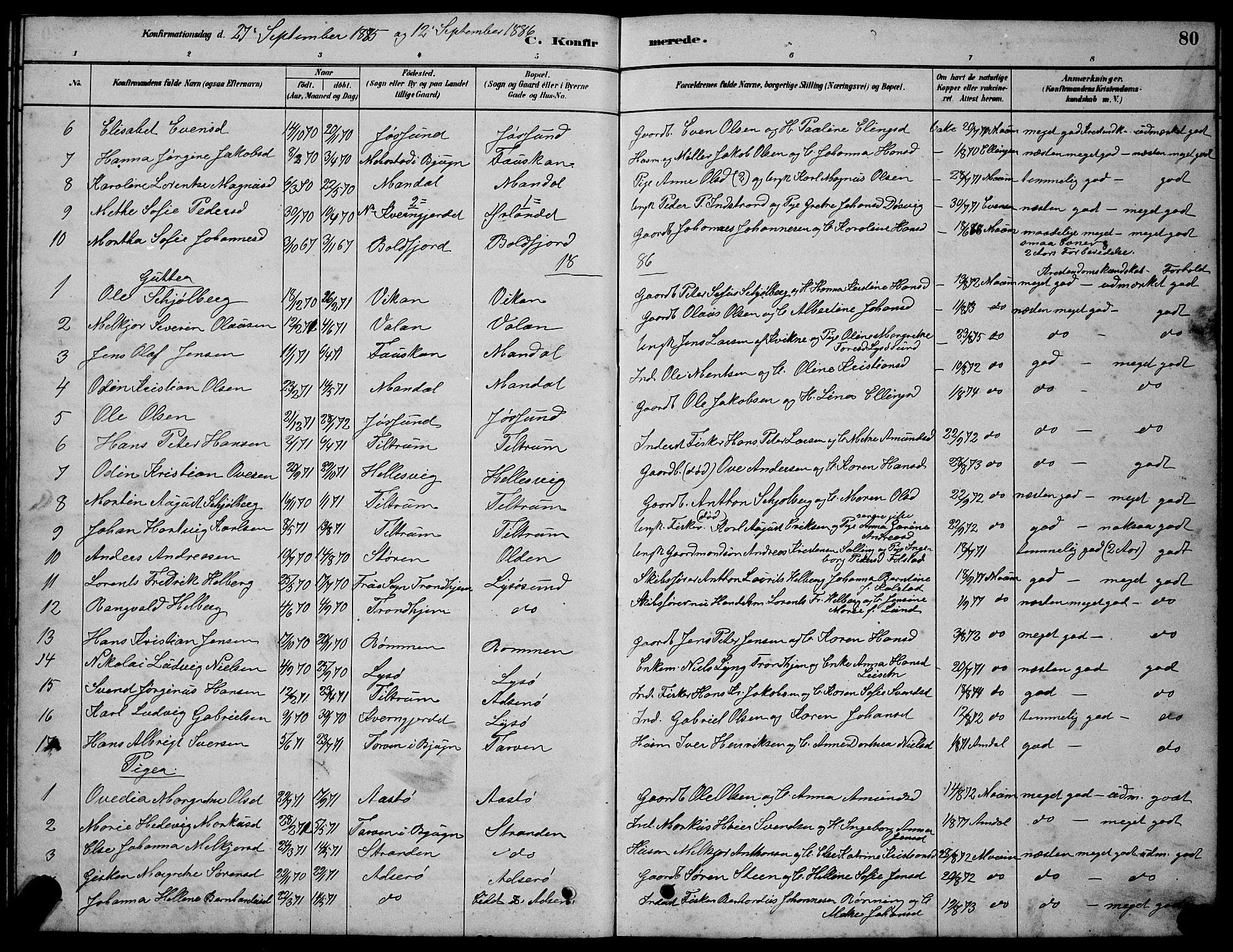 SAT, Ministerialprotokoller, klokkerbøker og fødselsregistre - Sør-Trøndelag, 654/L0665: Klokkerbok nr. 654C01, 1879-1901, s. 80