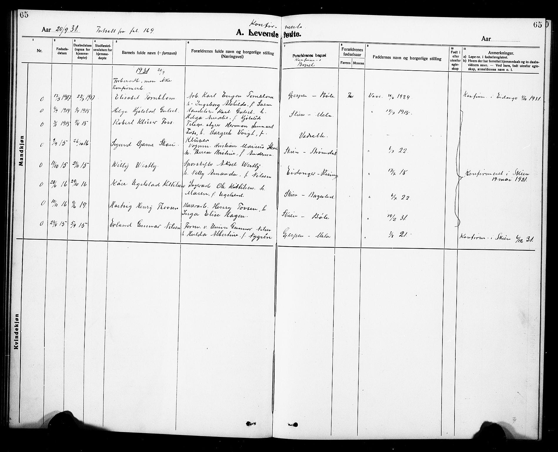 SAKO, Gjerpen kirkebøker, G/Ga/L0004: Klokkerbok nr. I 4, 1920-1931, s. 65