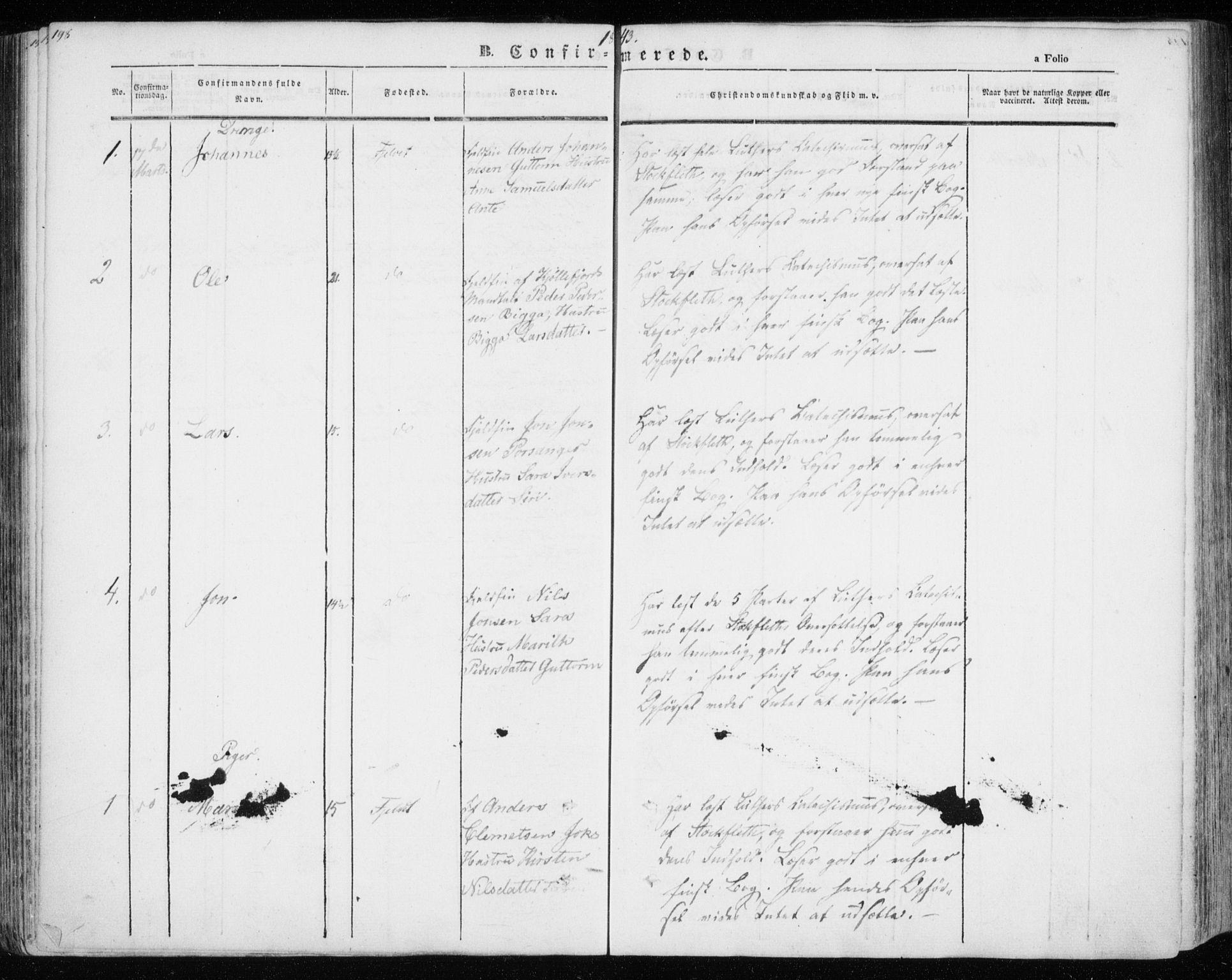 SATØ, Kistrand/Porsanger sokneprestembete, H/Ha/L0012.kirke: Ministerialbok nr. 12, 1843-1871, s. 198-199