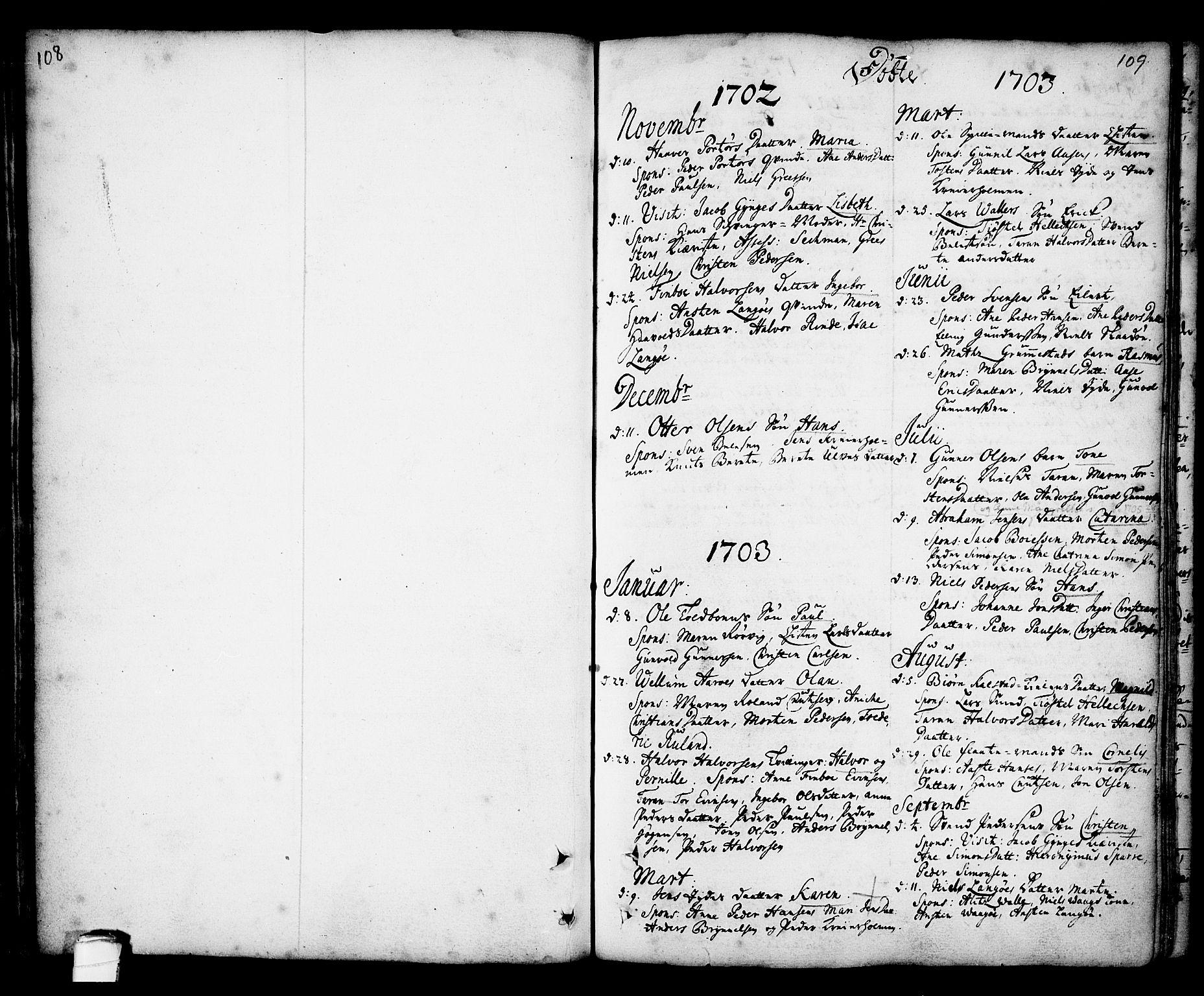 SAKO, Kragerø kirkebøker, F/Fa/L0001: Ministerialbok nr. 1, 1702-1766, s. 108-109