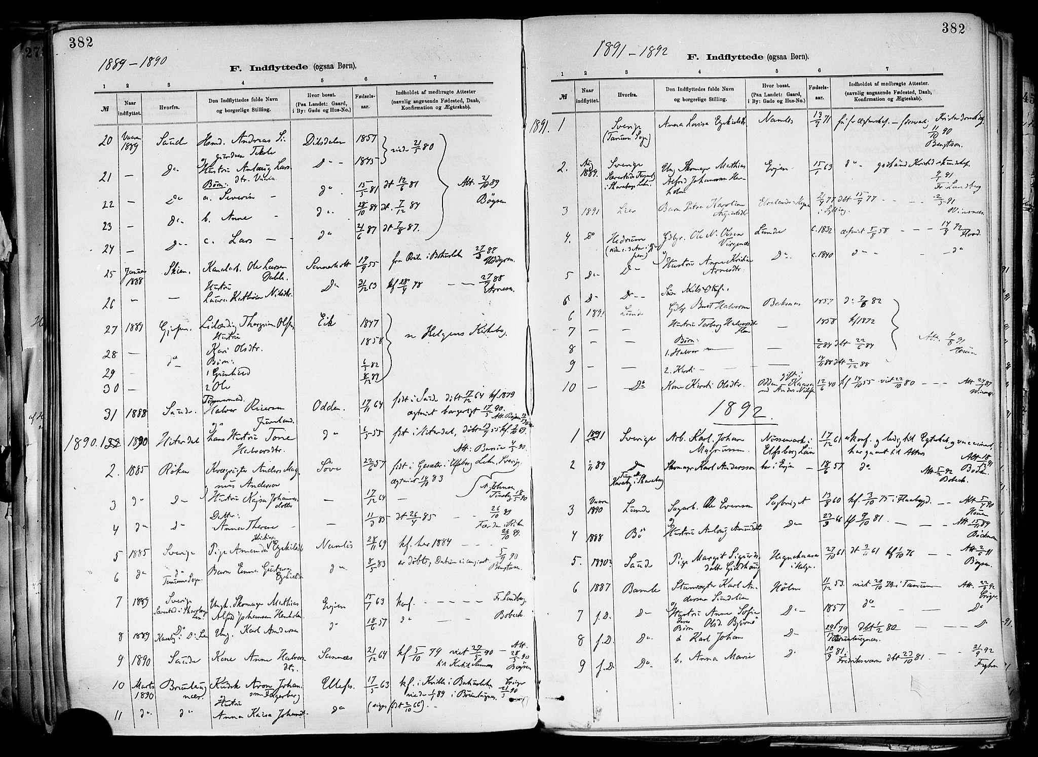 SAKO, Holla kirkebøker, F/Fa/L0008: Ministerialbok nr. 8, 1882-1897, s. 382