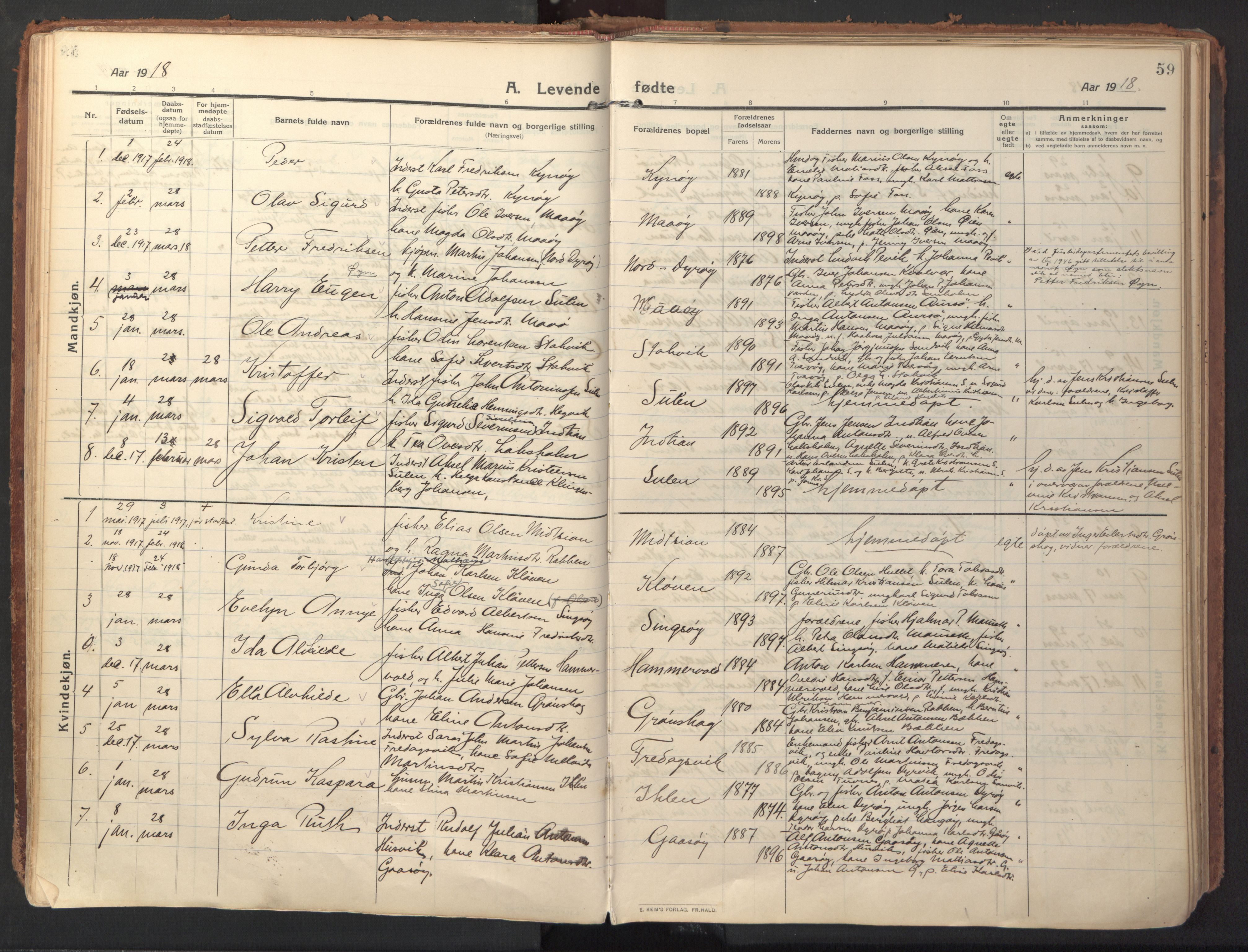 SAT, Ministerialprotokoller, klokkerbøker og fødselsregistre - Sør-Trøndelag, 640/L0581: Ministerialbok nr. 640A06, 1910-1924, s. 59