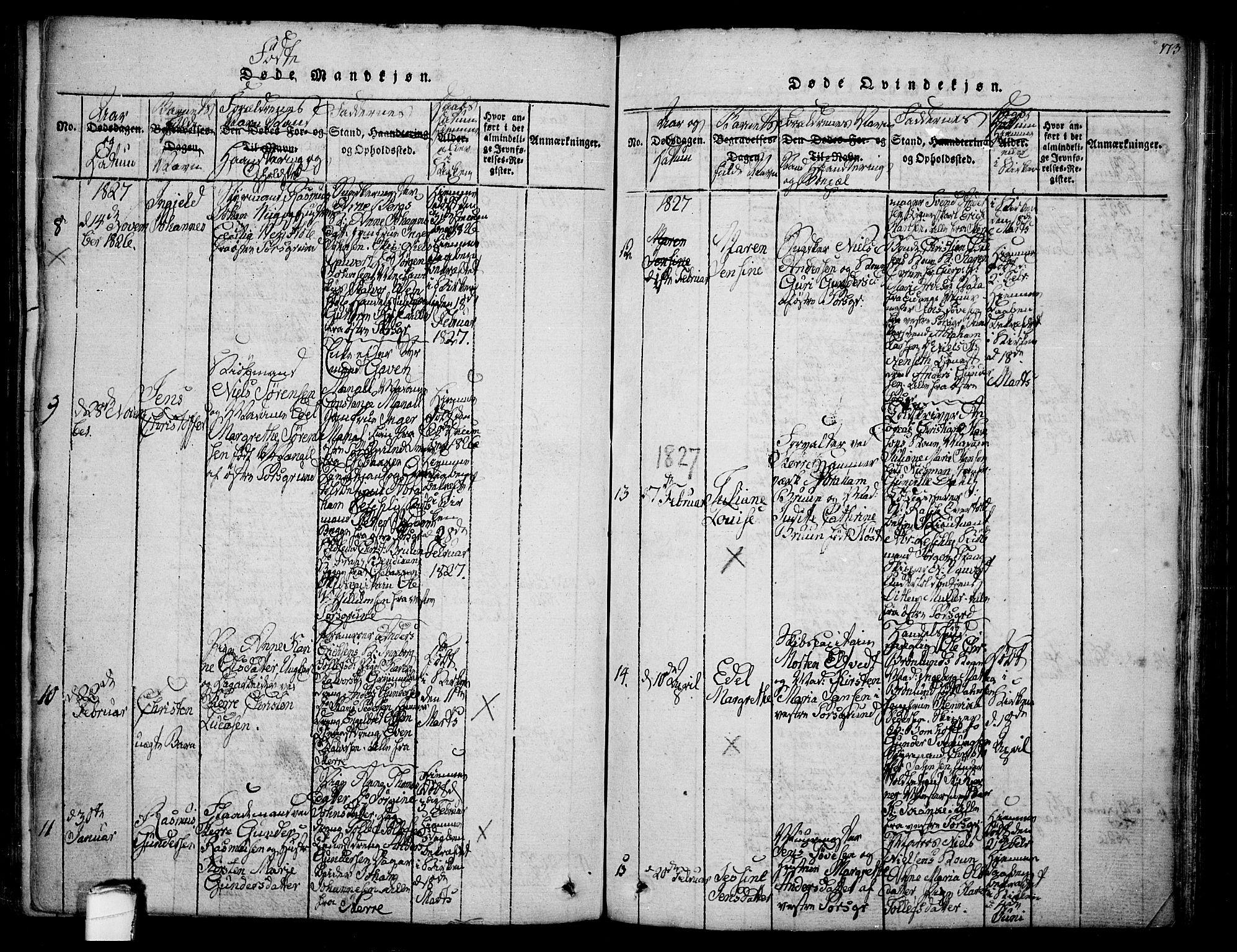 SAKO, Porsgrunn kirkebøker , F/Fa/L0004: Ministerialbok nr. 4, 1814-1828, s. 173