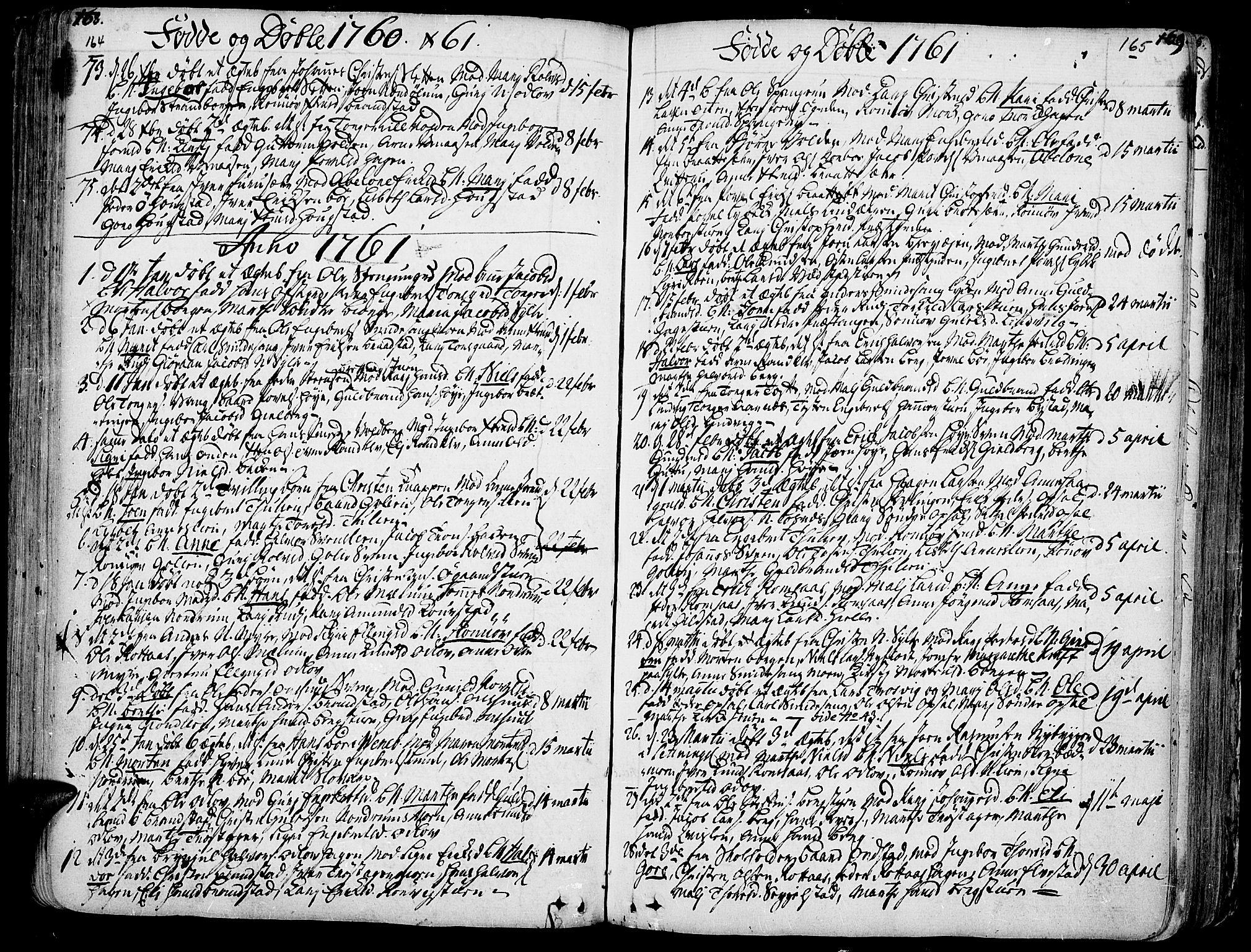 SAH, Ringebu prestekontor, Ministerialbok nr. 2, 1734-1780, s. 164-165