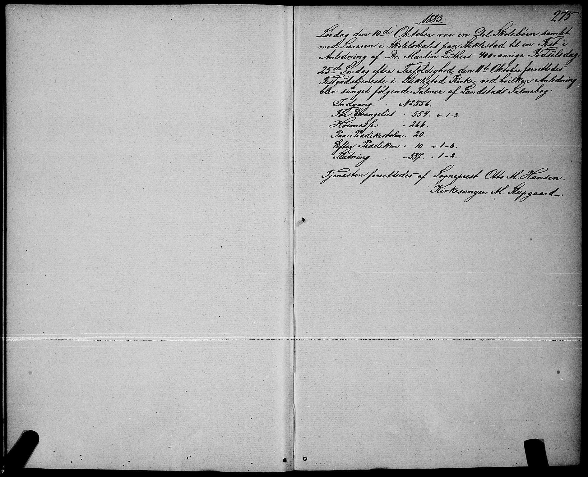 SAT, Ministerialprotokoller, klokkerbøker og fødselsregistre - Nord-Trøndelag, 723/L0256: Klokkerbok nr. 723C04, 1879-1890, s. 275