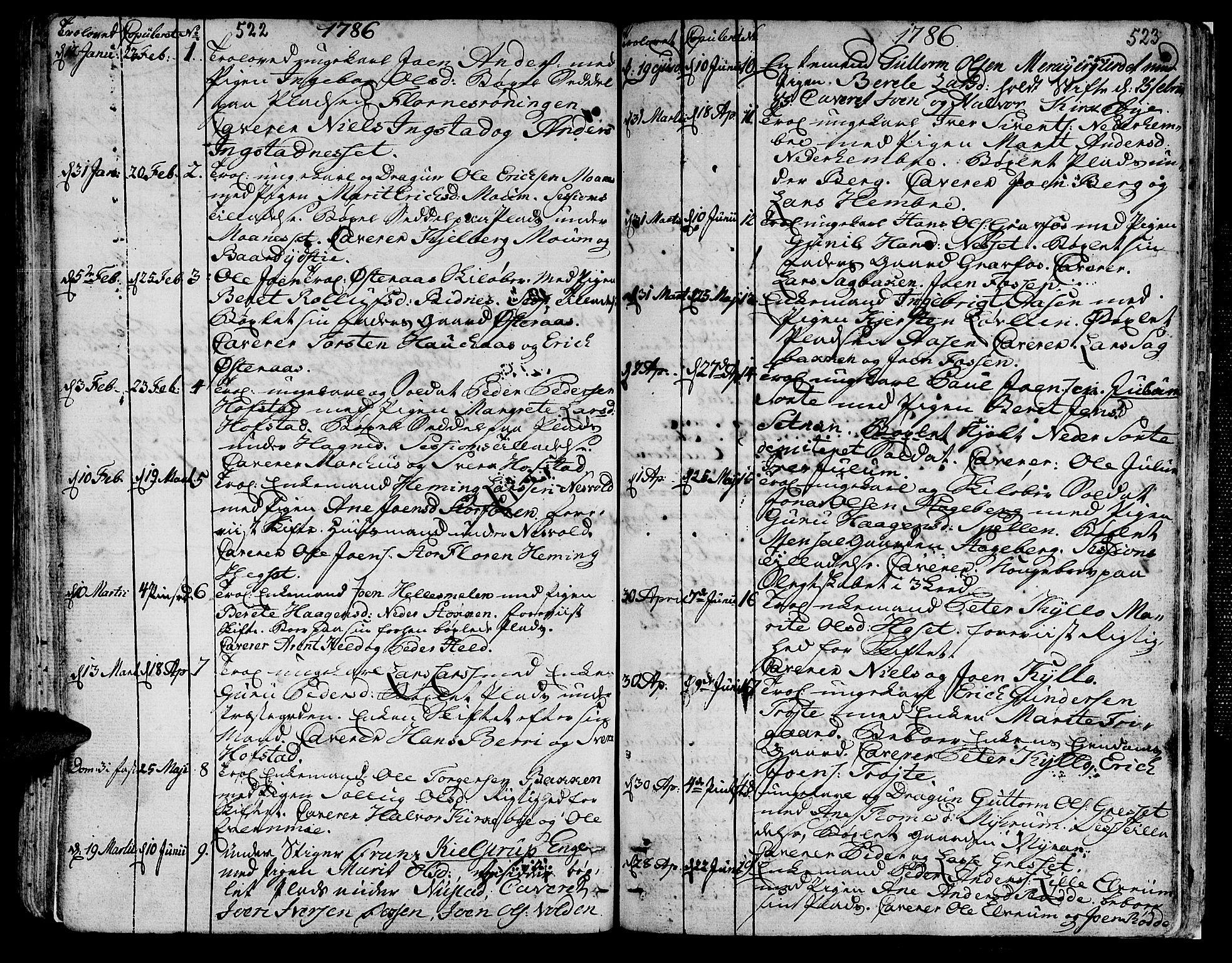 SAT, Ministerialprotokoller, klokkerbøker og fødselsregistre - Nord-Trøndelag, 709/L0059: Ministerialbok nr. 709A06, 1781-1797, s. 522-523