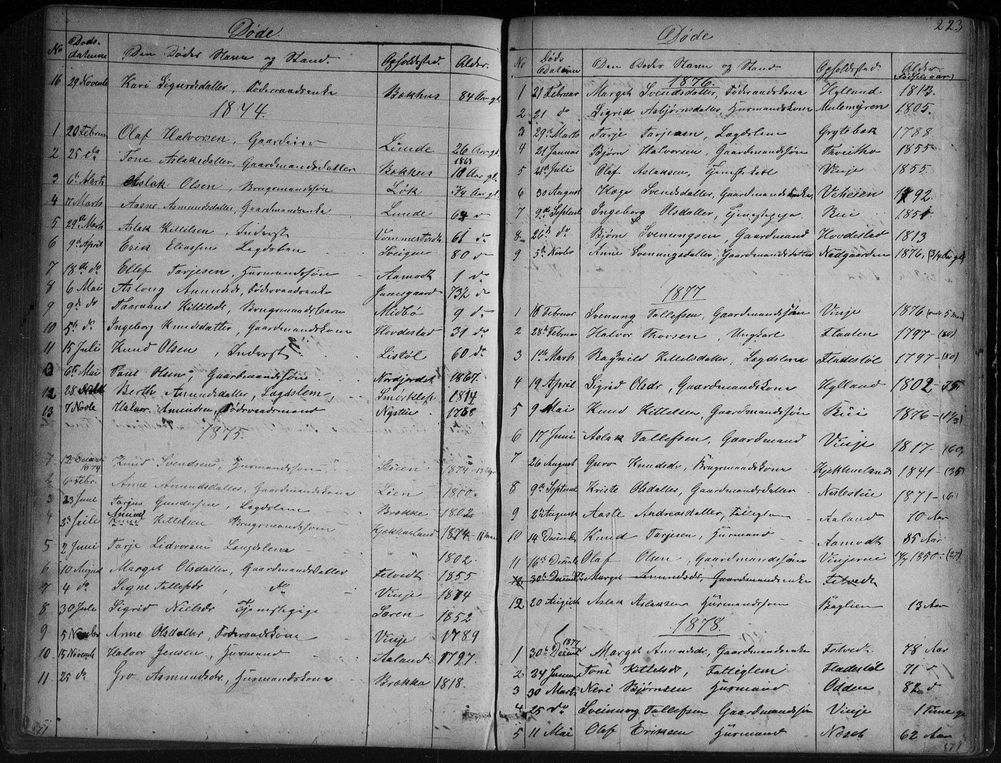 SAKO, Vinje kirkebøker, G/Ga/L0002: Klokkerbok nr. I 2, 1849-1893, s. 223