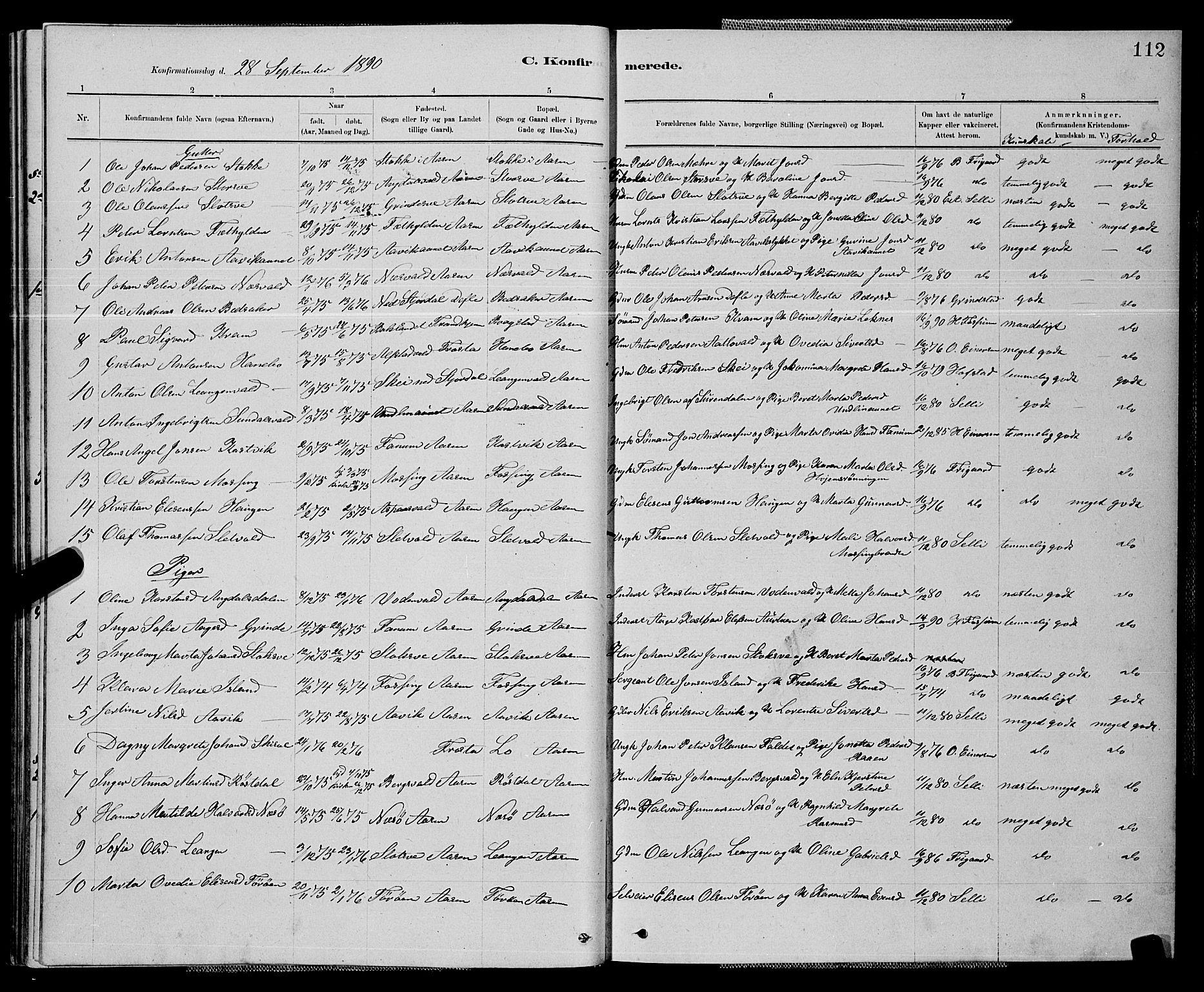 SAT, Ministerialprotokoller, klokkerbøker og fødselsregistre - Nord-Trøndelag, 714/L0134: Klokkerbok nr. 714C03, 1878-1898, s. 112