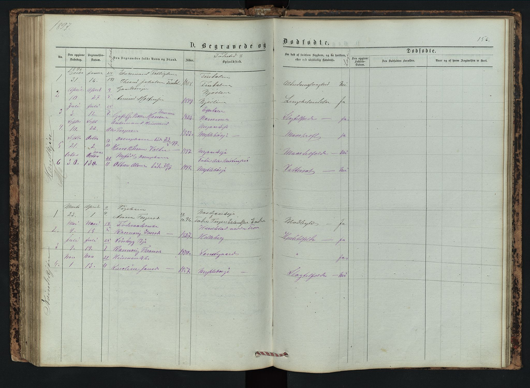 SAH, Vestre Gausdal prestekontor, Klokkerbok nr. 2, 1874-1897, s. 156