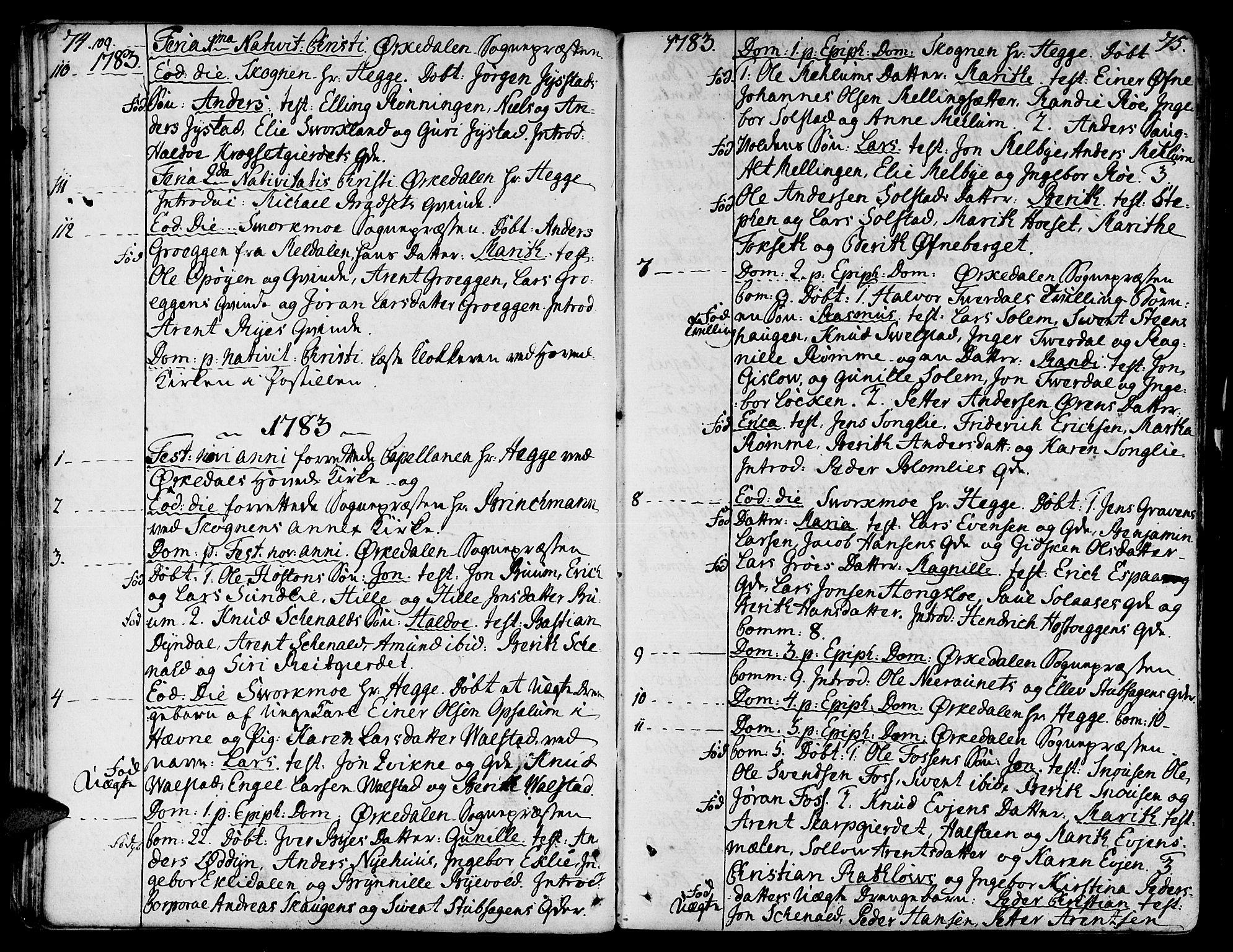 SAT, Ministerialprotokoller, klokkerbøker og fødselsregistre - Sør-Trøndelag, 668/L0802: Ministerialbok nr. 668A02, 1776-1799, s. 74-75
