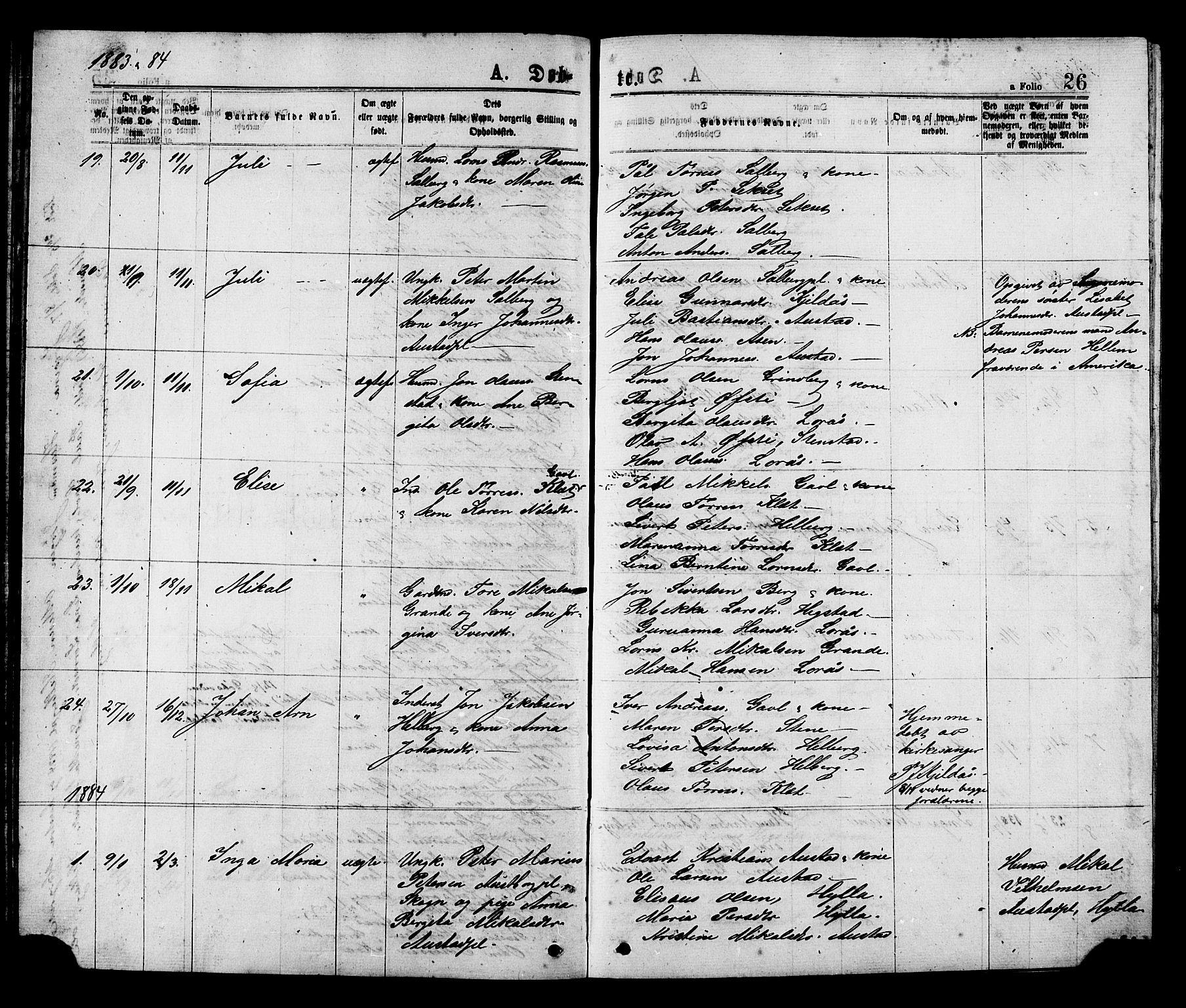 SAT, Ministerialprotokoller, klokkerbøker og fødselsregistre - Nord-Trøndelag, 731/L0311: Klokkerbok nr. 731C02, 1875-1911, s. 26
