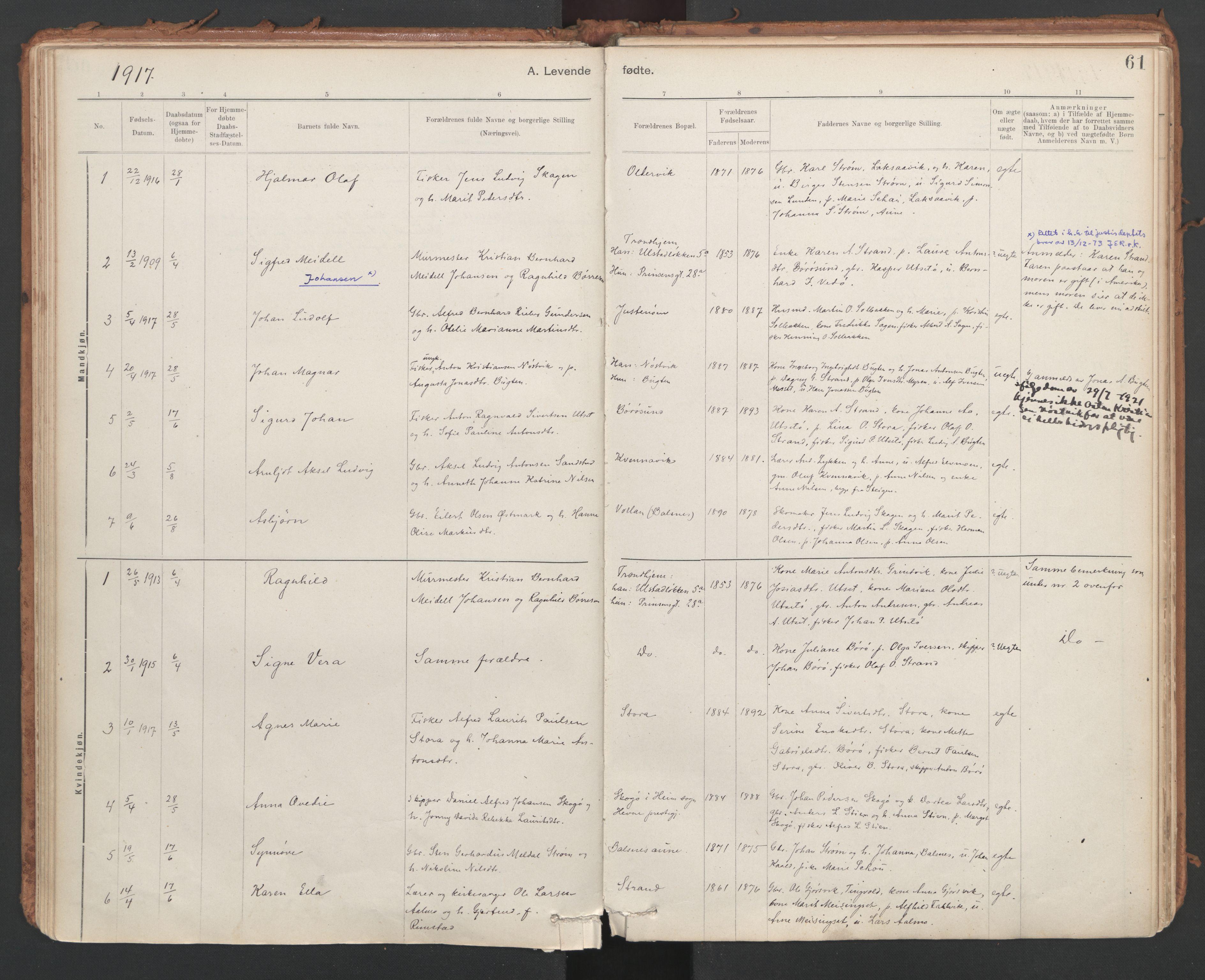 SAT, Ministerialprotokoller, klokkerbøker og fødselsregistre - Sør-Trøndelag, 639/L0572: Ministerialbok nr. 639A01, 1890-1920, s. 61