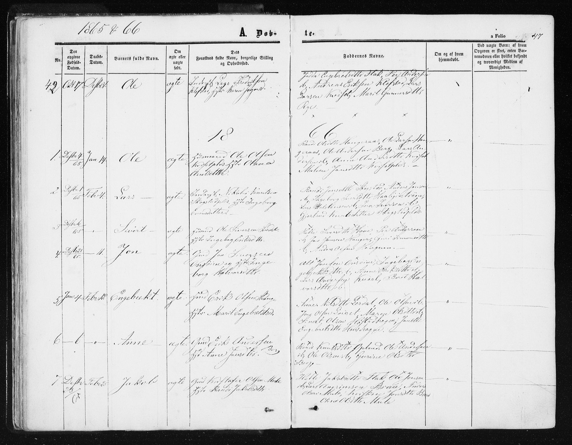 SAT, Ministerialprotokoller, klokkerbøker og fødselsregistre - Sør-Trøndelag, 612/L0377: Ministerialbok nr. 612A09, 1859-1877, s. 47