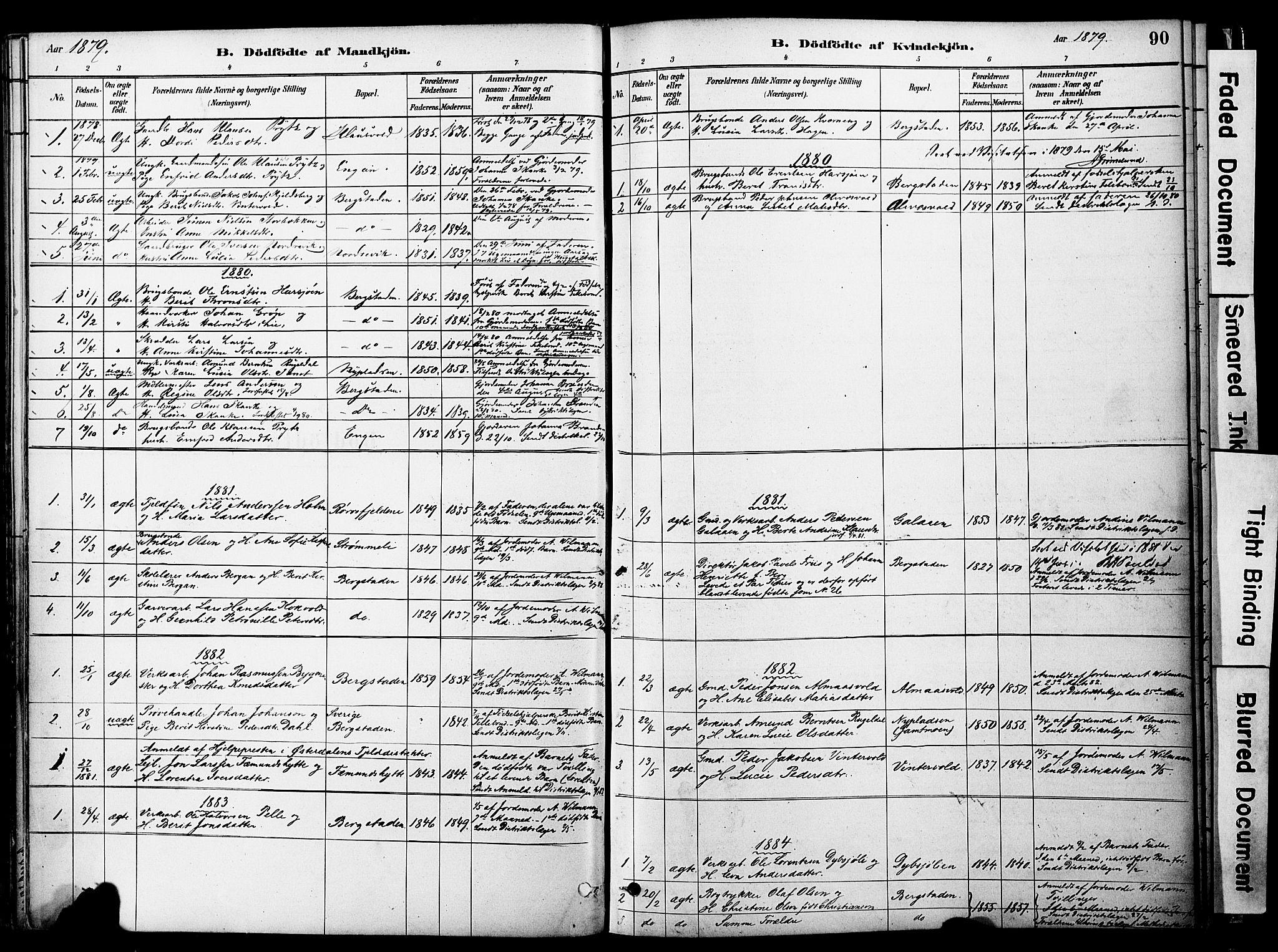 SAT, Ministerialprotokoller, klokkerbøker og fødselsregistre - Sør-Trøndelag, 681/L0933: Ministerialbok nr. 681A11, 1879-1890, s. 90