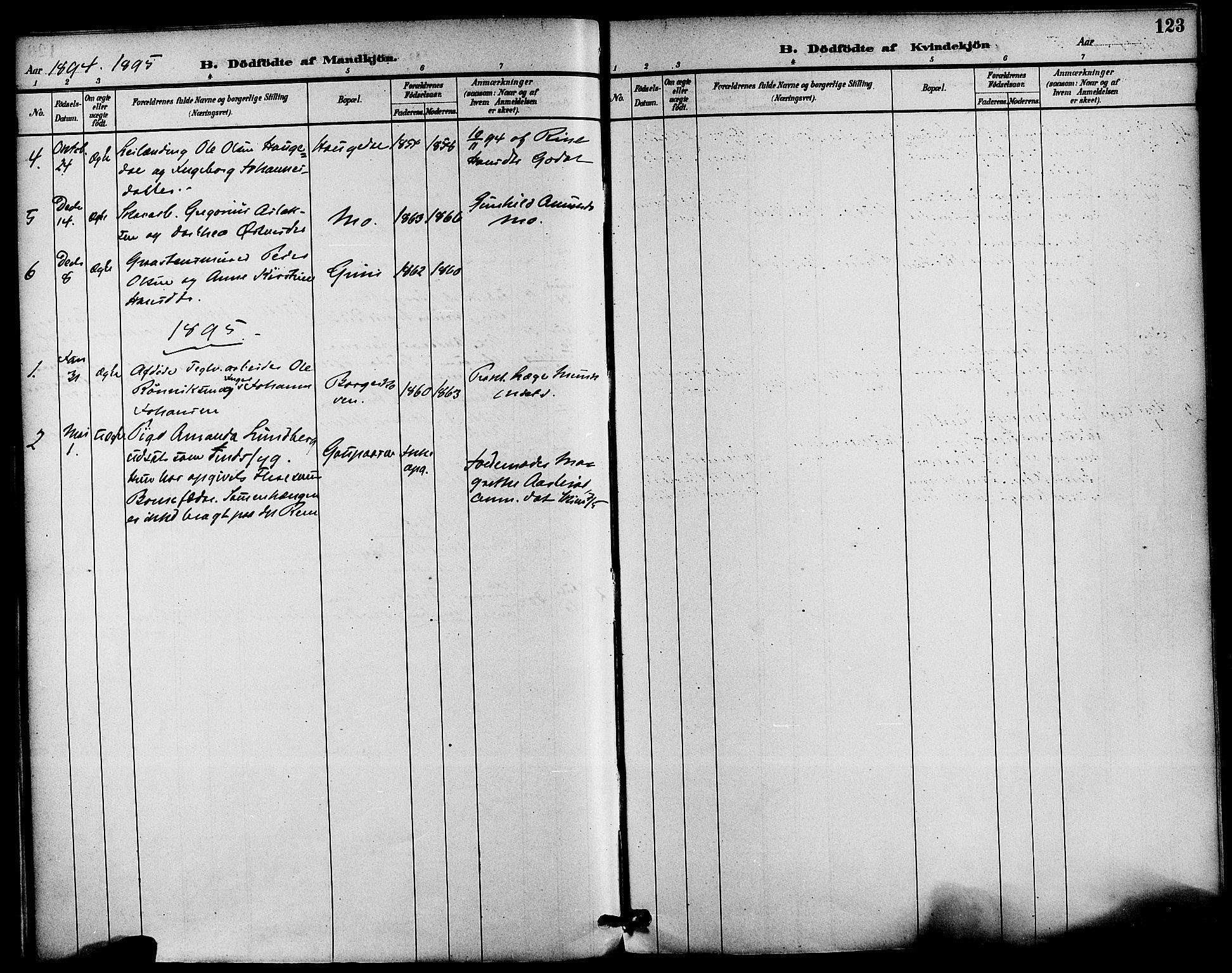 SAKO, Gjerpen kirkebøker, F/Fa/L0010: Ministerialbok nr. 10, 1886-1895, s. 123