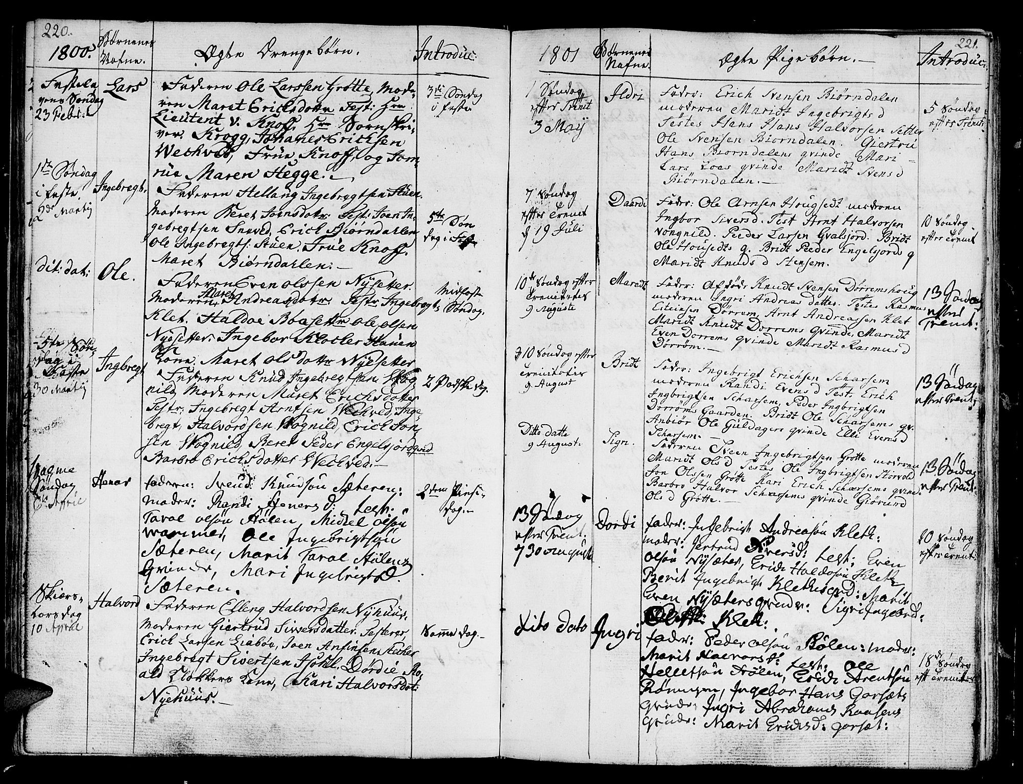 SAT, Ministerialprotokoller, klokkerbøker og fødselsregistre - Sør-Trøndelag, 678/L0893: Ministerialbok nr. 678A03, 1792-1805, s. 220-221