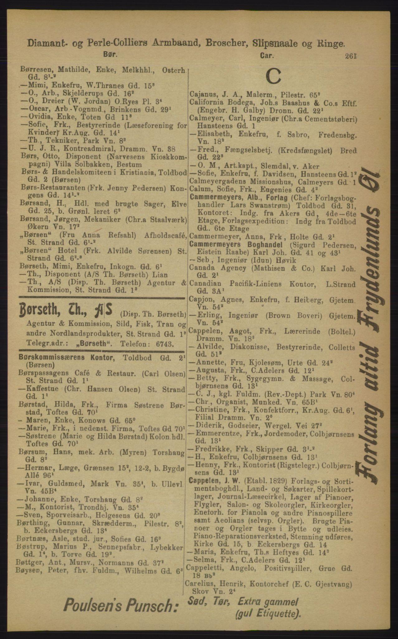 RA, Kristiania adressebok (publikasjon)*, 1906, s. 261