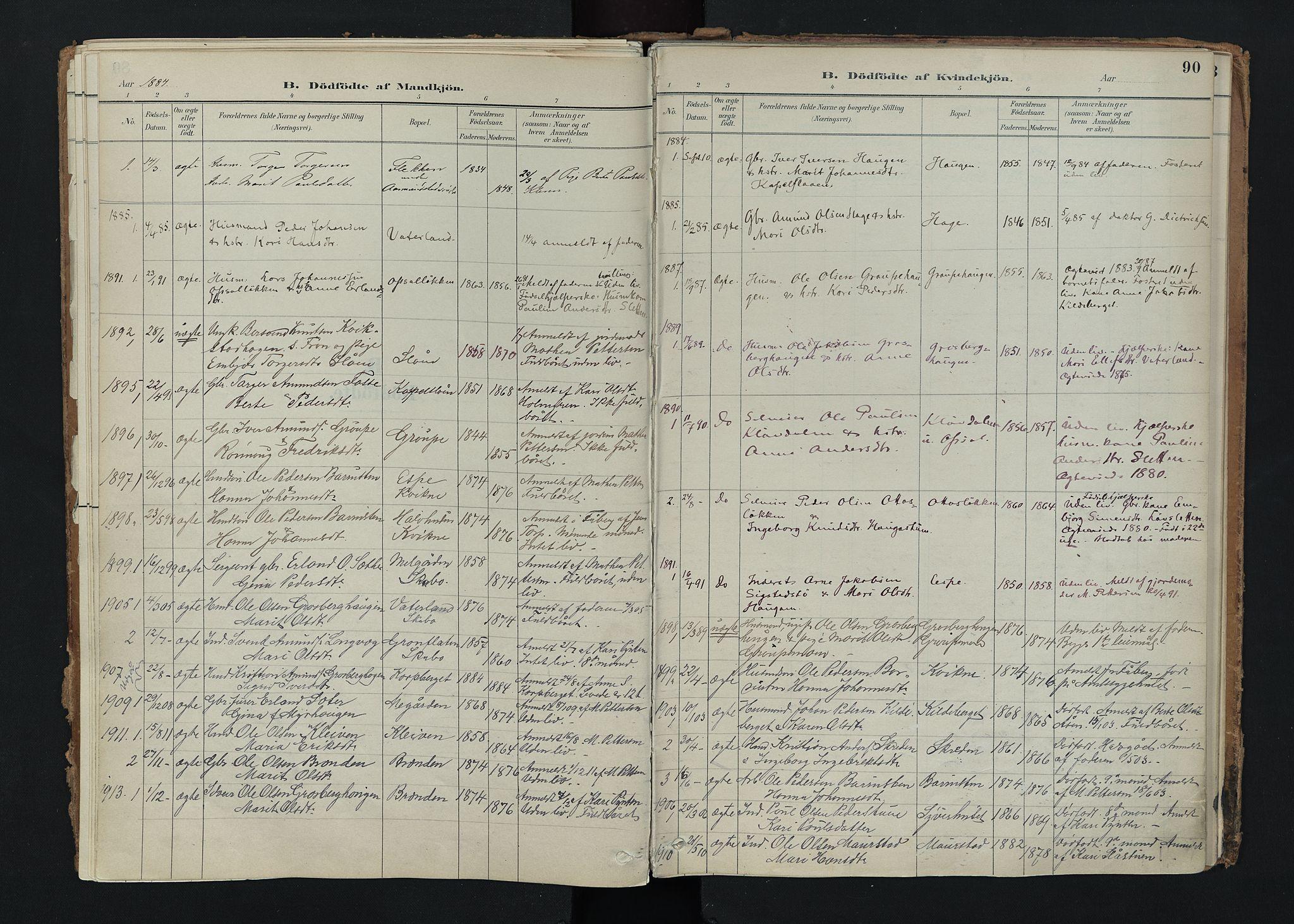 SAH, Nord-Fron prestekontor, Ministerialbok nr. 5, 1884-1914, s. 90